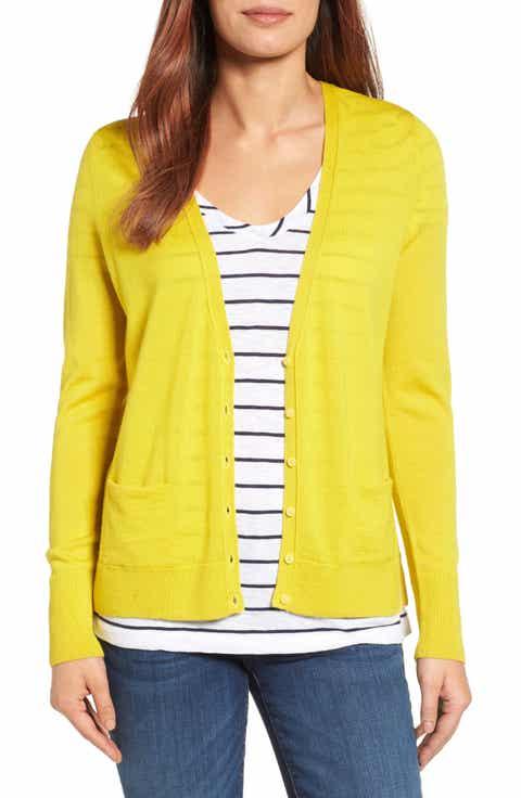 Halogen® V-Neck Merino Wool Cardigan (Regular & Petite) - Women's Yellow Cardigan Sweaters: Long, Cropped & More Nordstrom