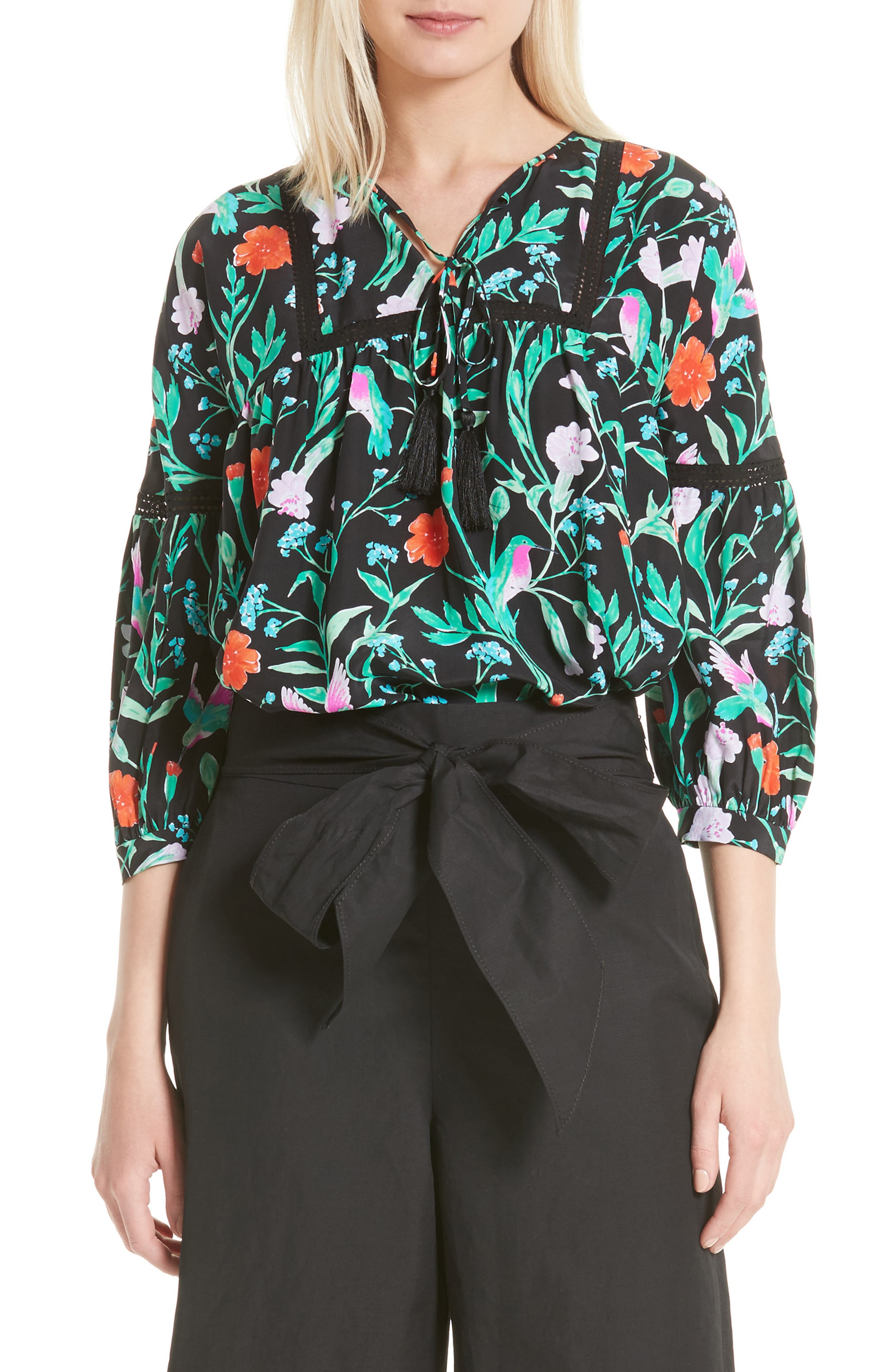 kate spade new york jardin lace inset silk blouse
