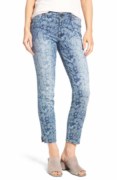 KUT from the Kloth Paisley Print Skinny Jeans (Voluminous)