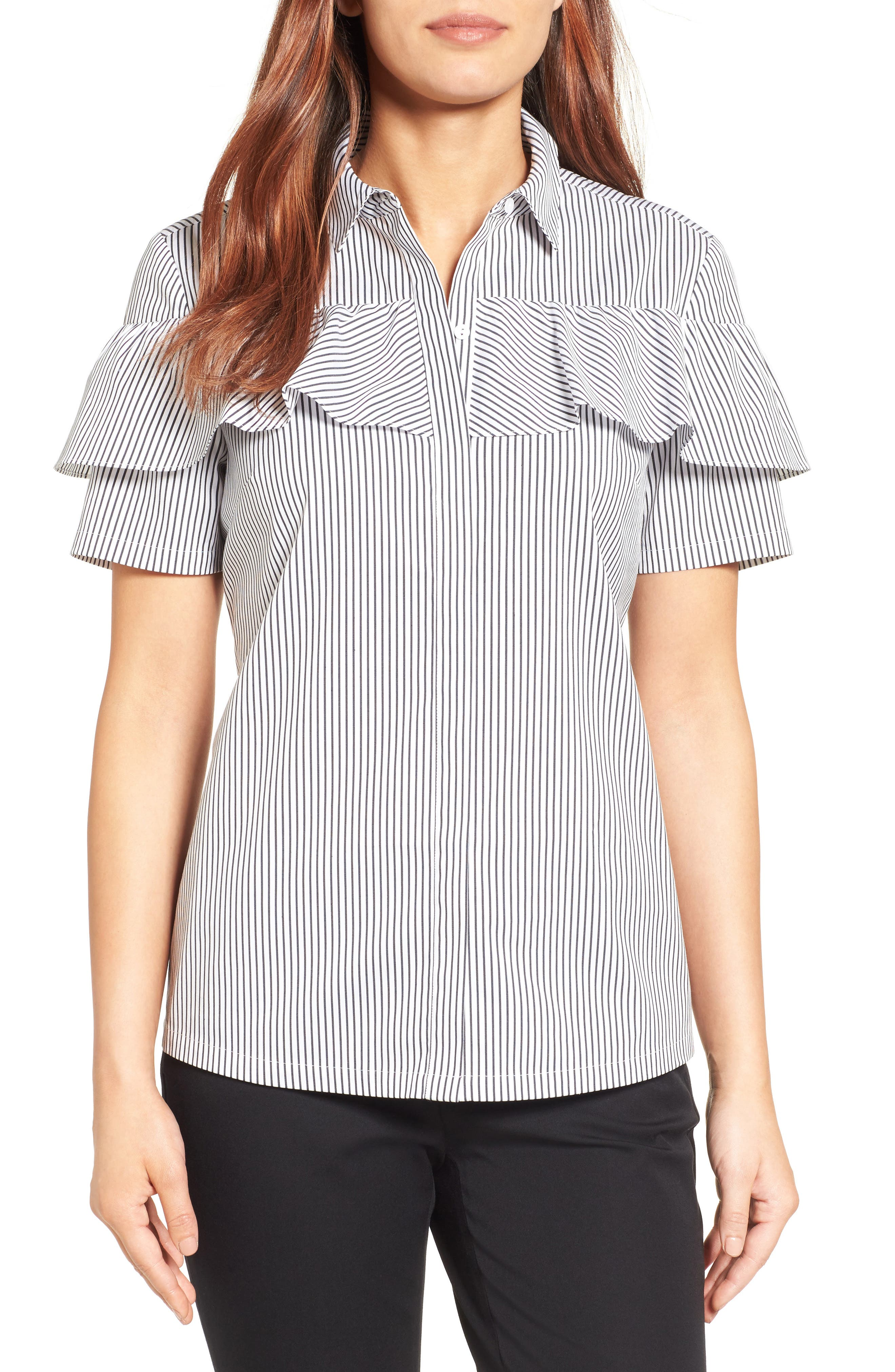 Halogen® Ruffle Front Poplin Shirt (Regular & Petite)