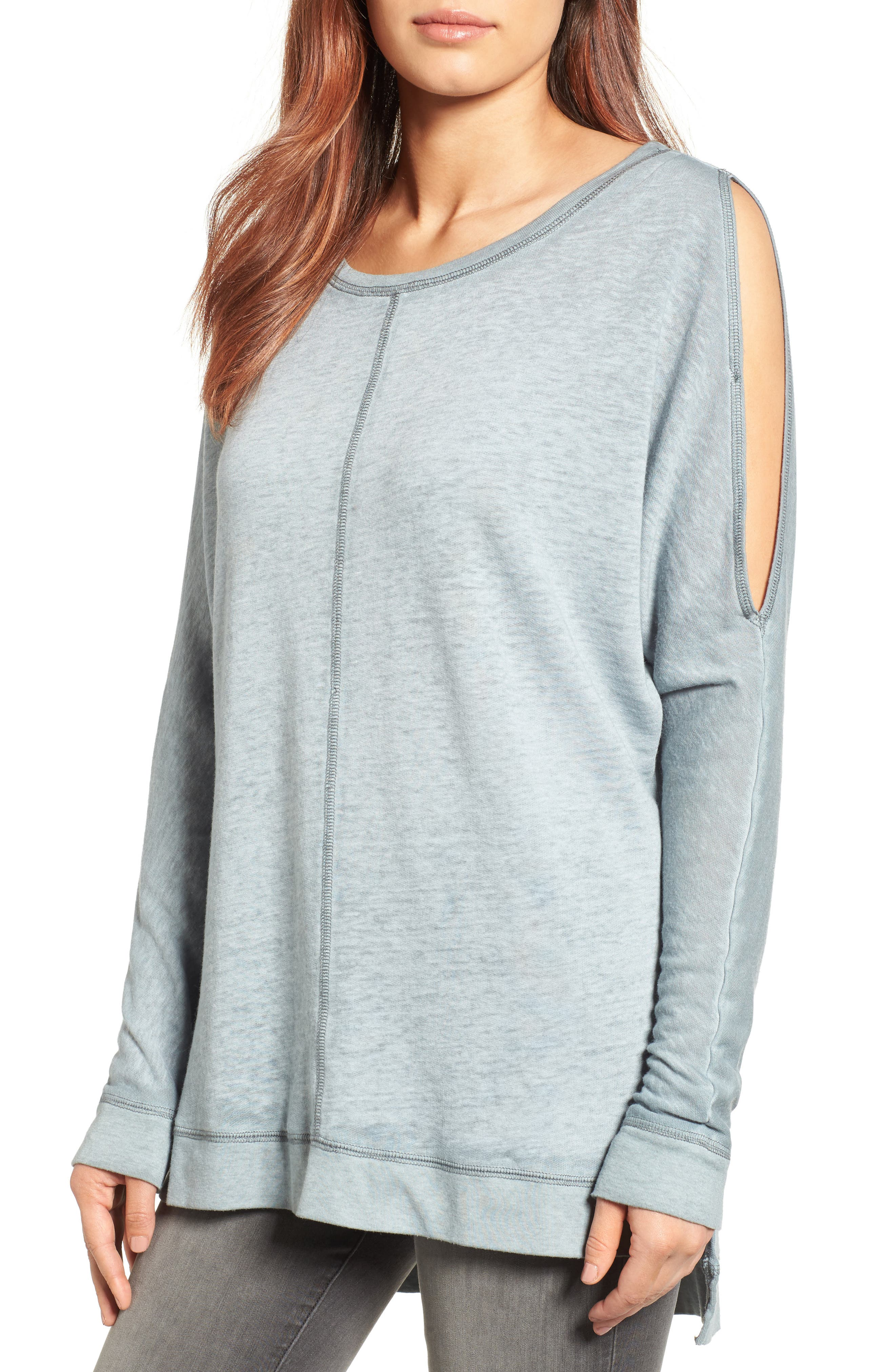 Caslon® Cold Shoulder Burnout Sweatshirt (Regular & Petite)
