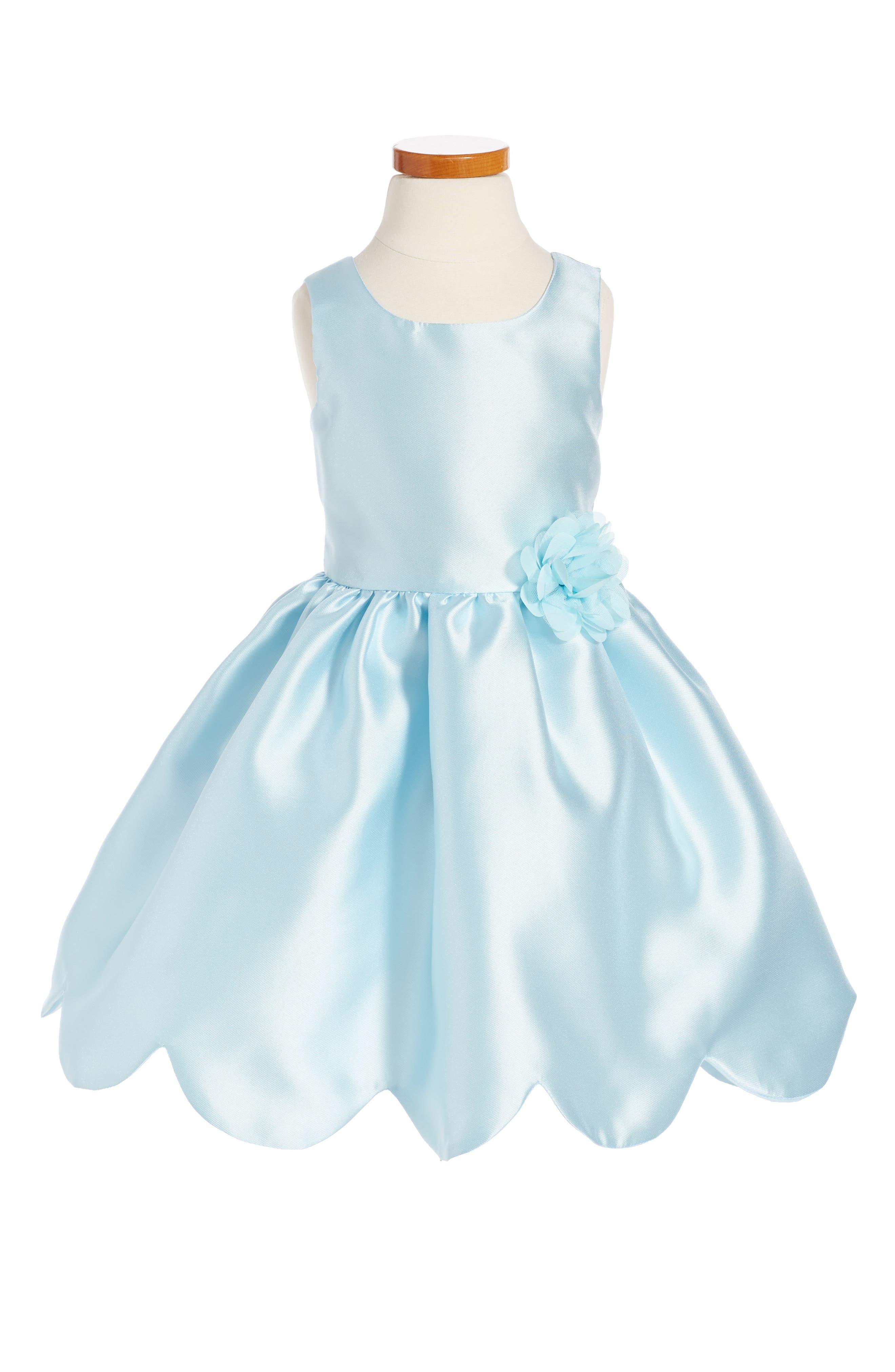 Zunie Scallop Hem Fit & Flare Dress (Toddler Girls & Little Girls)