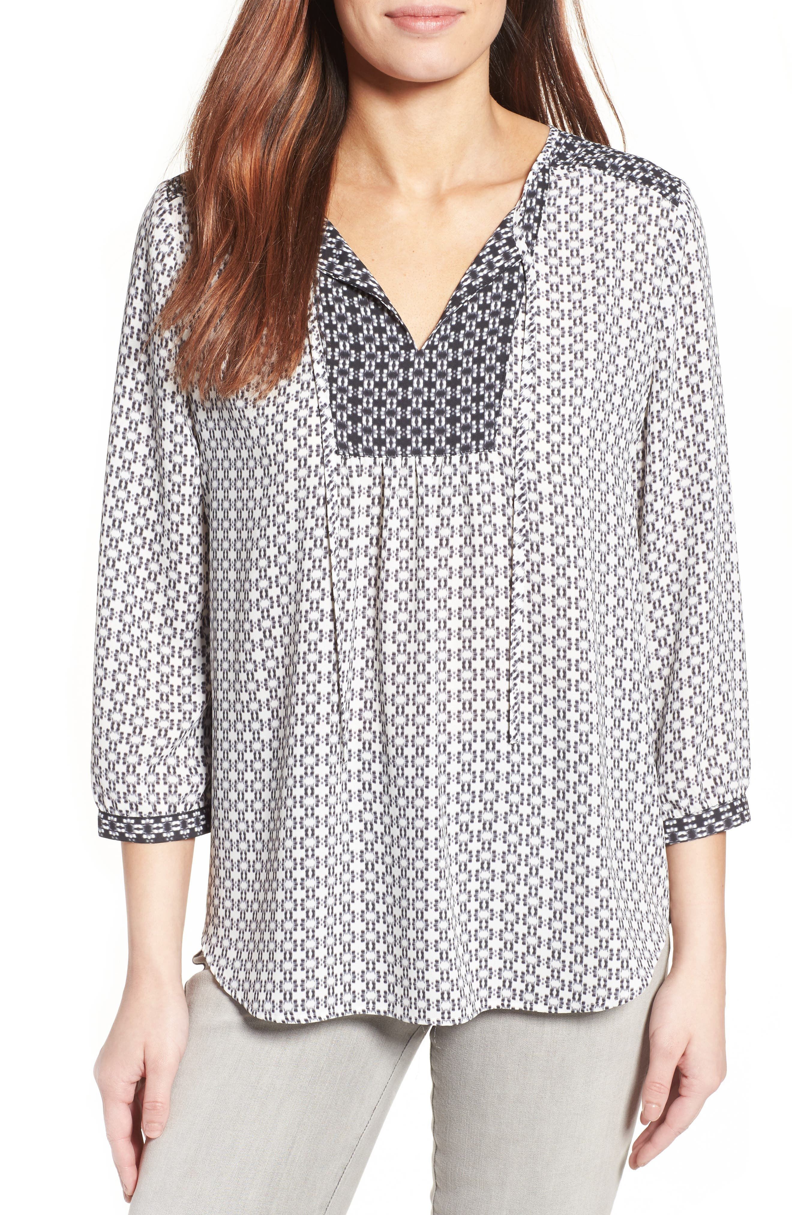 NYDJ 'Patchwork Mosaic' Print Split Neck Blouse (Regular & Petite)