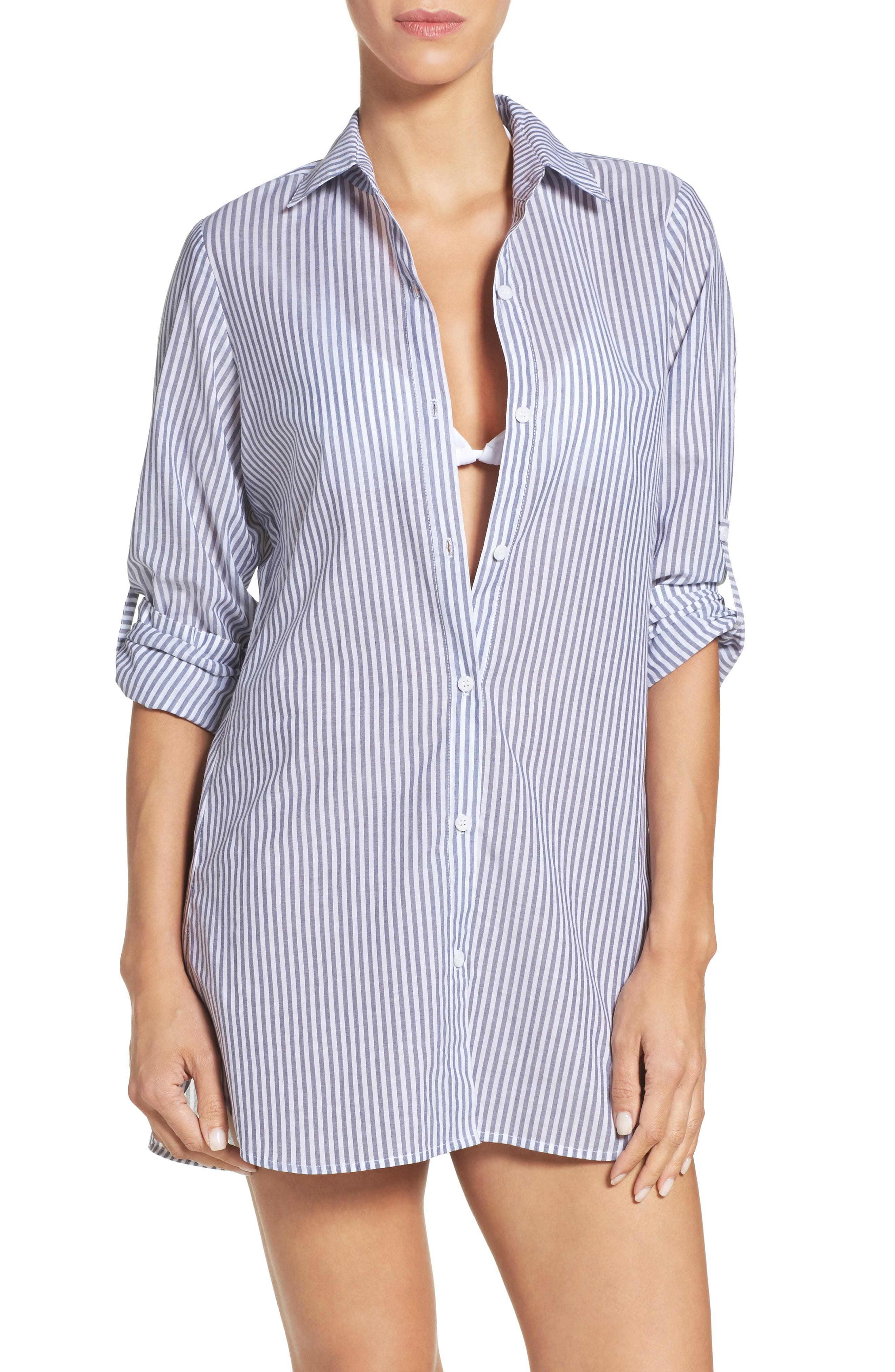 Tommy Bahama Floriana Stripe Cover-Up Shirt