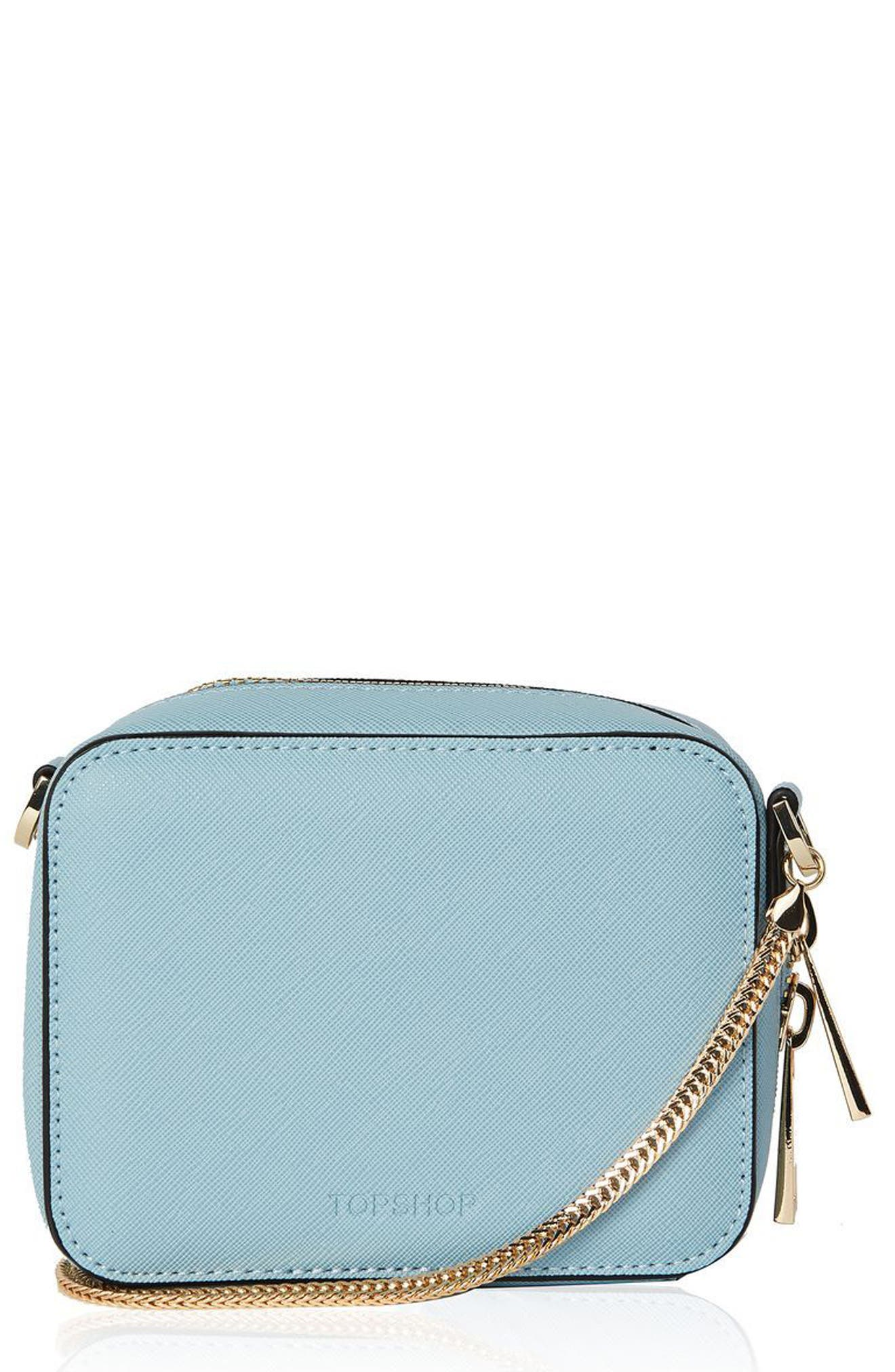 Topshop by ONA Boxy Faux Leather Crossbody Bag