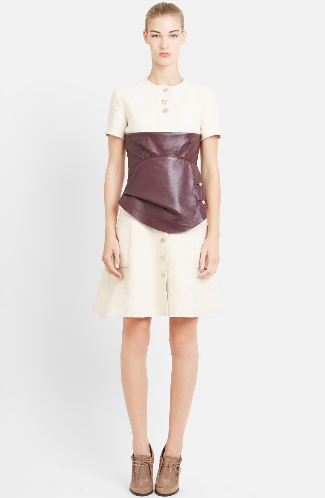 Alternate Image 1 Selected - J.W.ANDERSON Leather Corset Fit & Flare Hemp Shirtdress