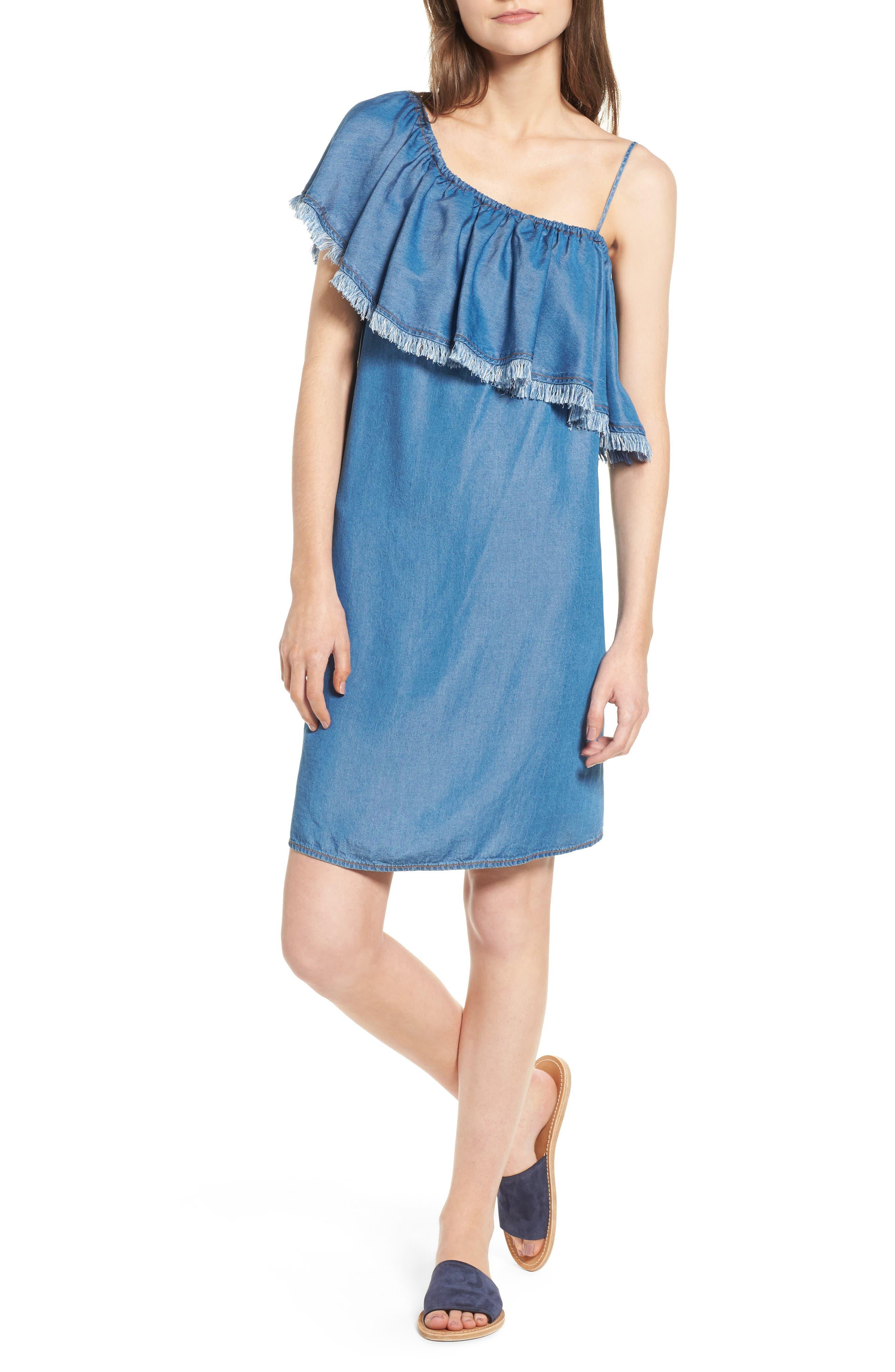 Splendid Fringe One-Shoulder Shift Dress