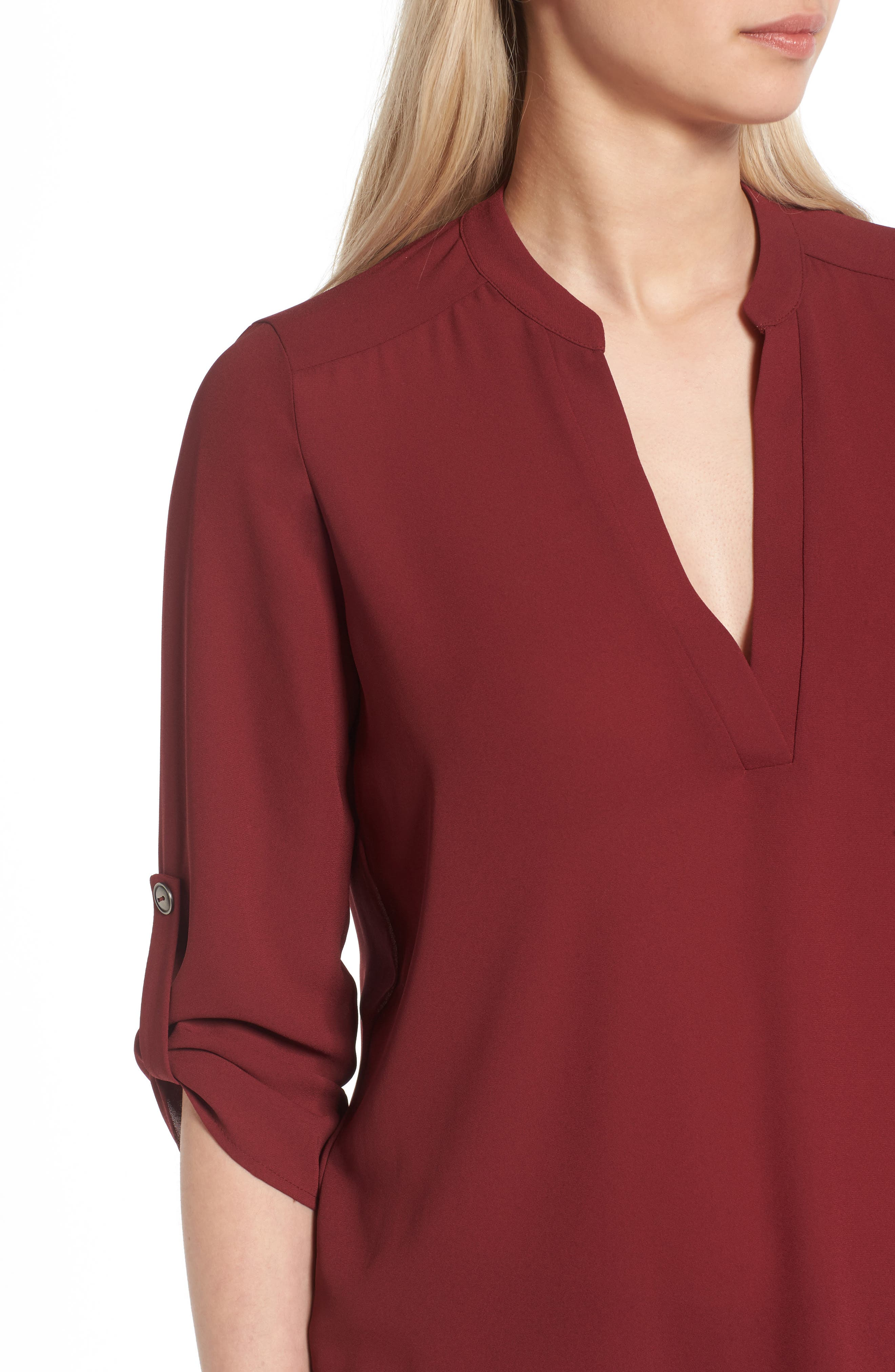 Alternate Image 4  - Lush Roll Tab Sleeve Woven Shirt