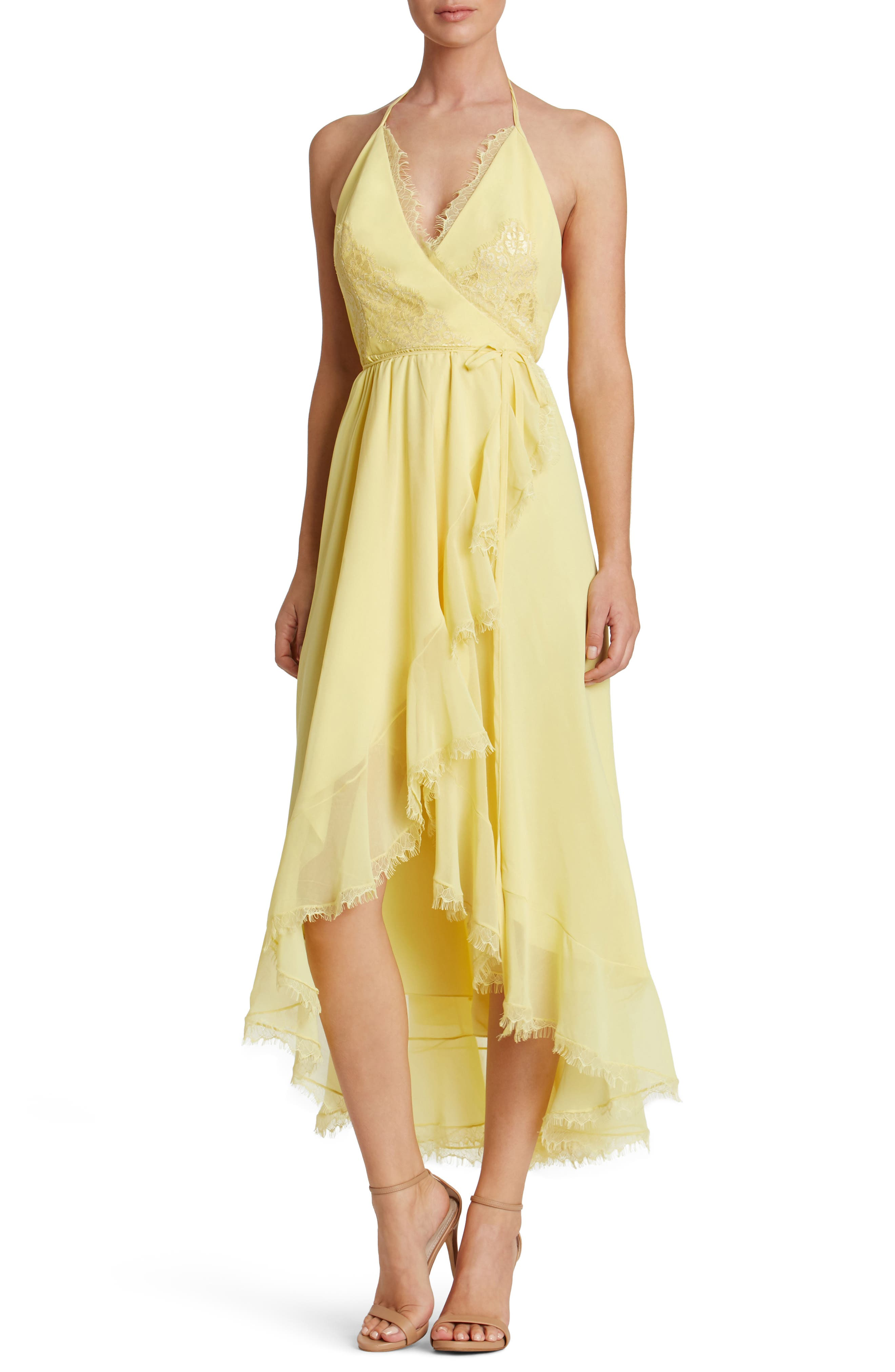 Dress the Population Gia Backless Chiffon Wrap Dress