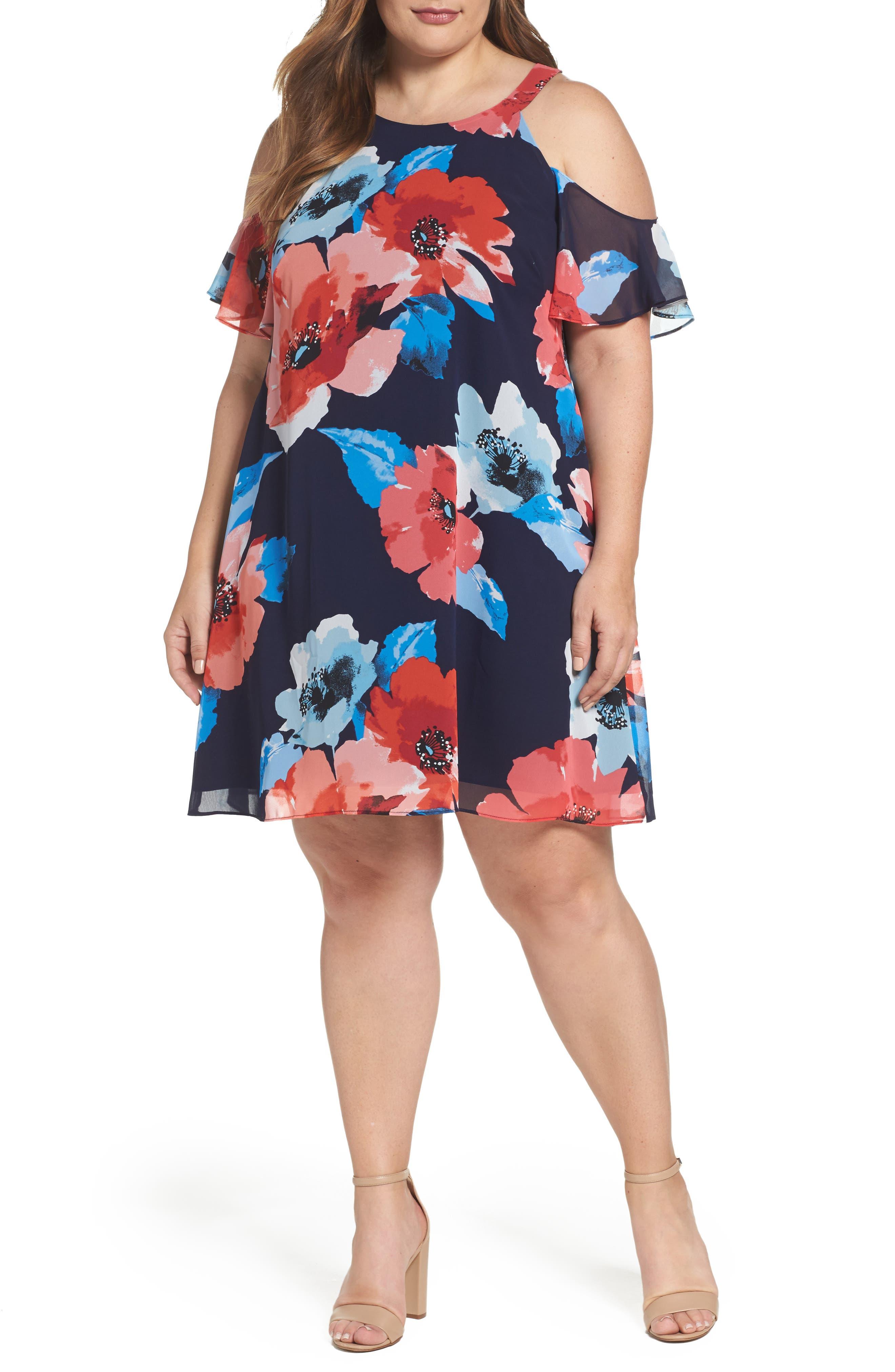 Vince Camuto Cold Shoulder Floral A-Line Dress (Plus Size)