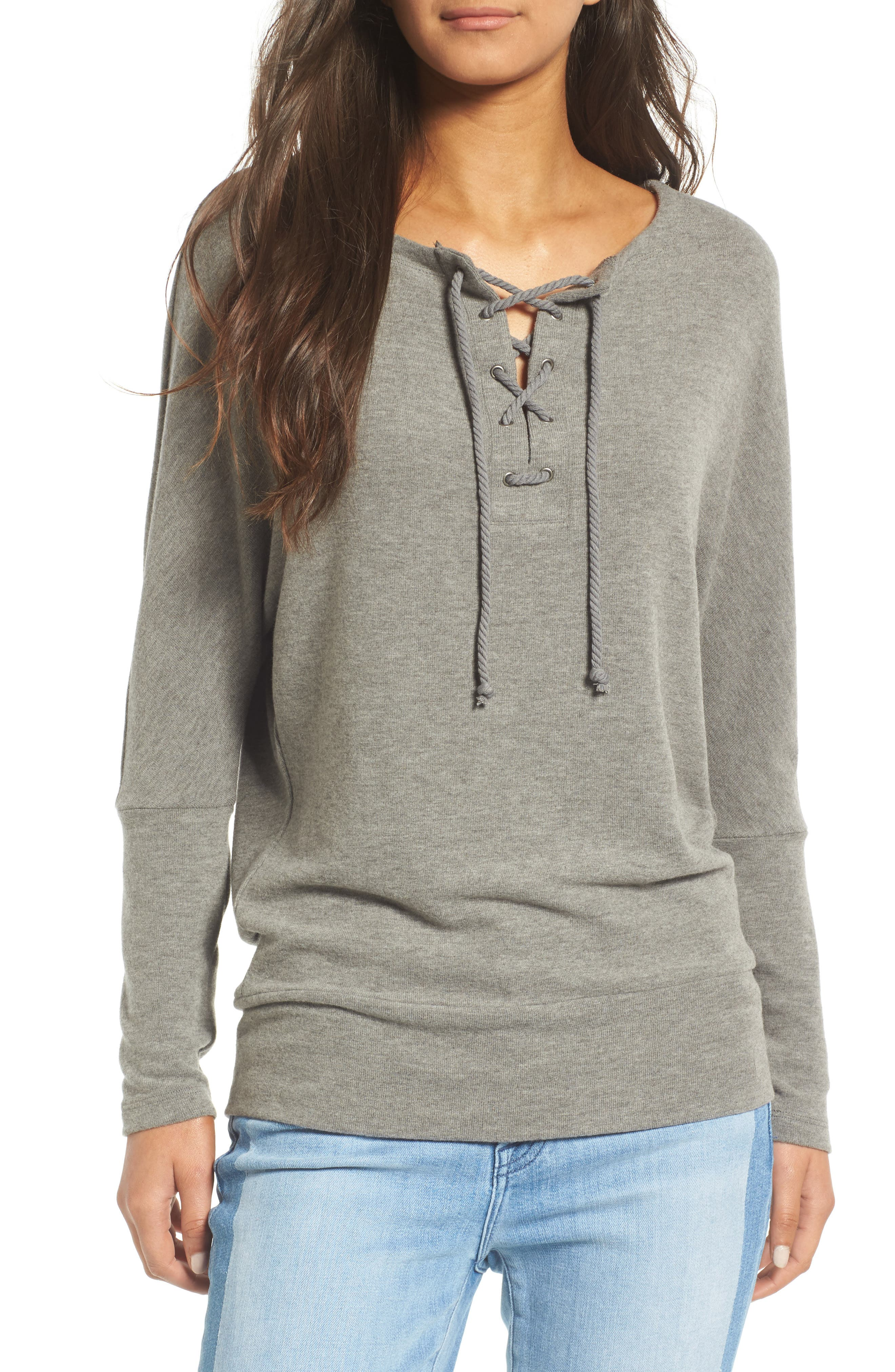 cupcakes and cashmere Danton Lace-Up Sweatshirt
