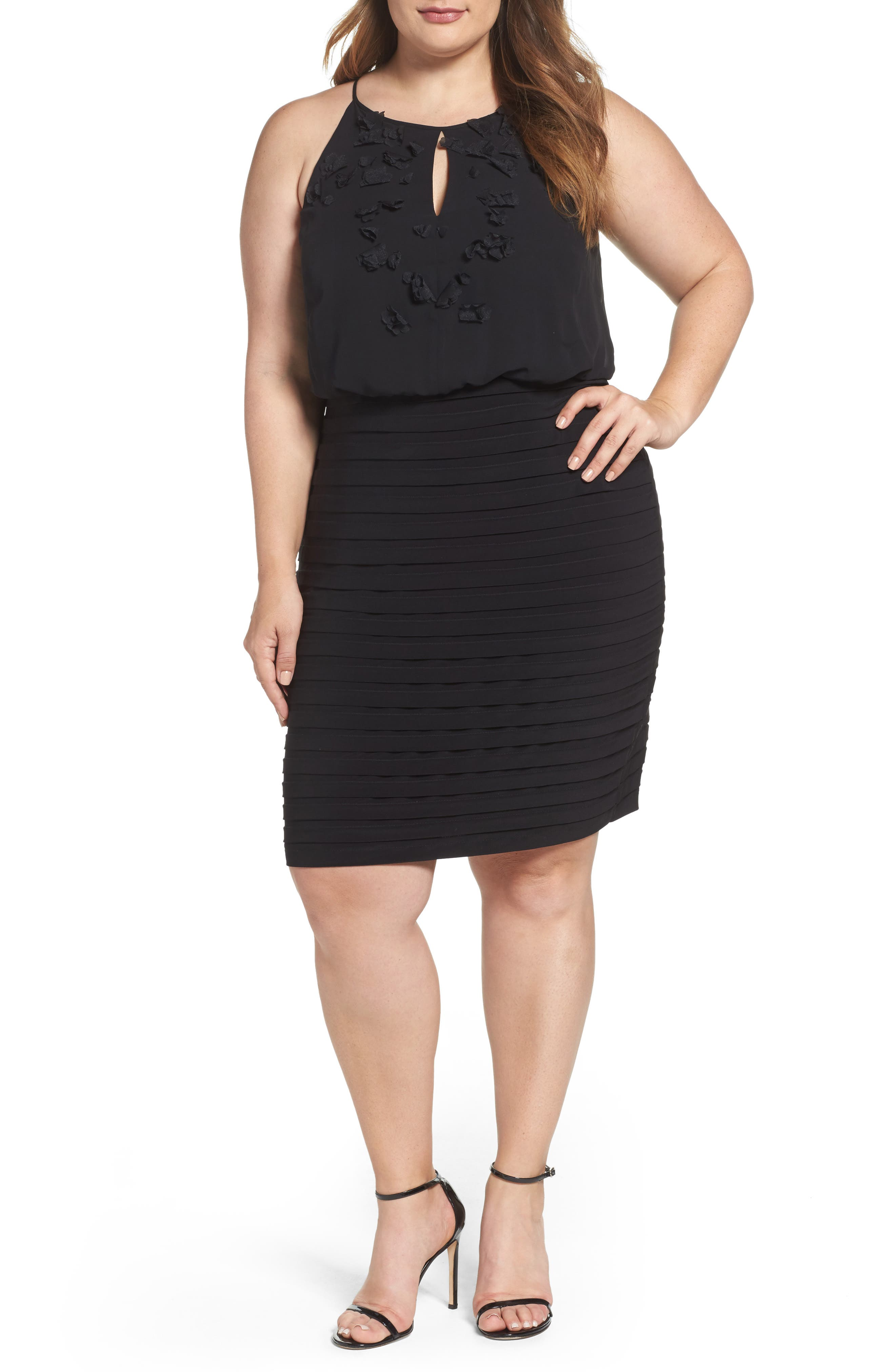 Adrianna Papell Matte Jersey Blouson Dress (Plus Size)