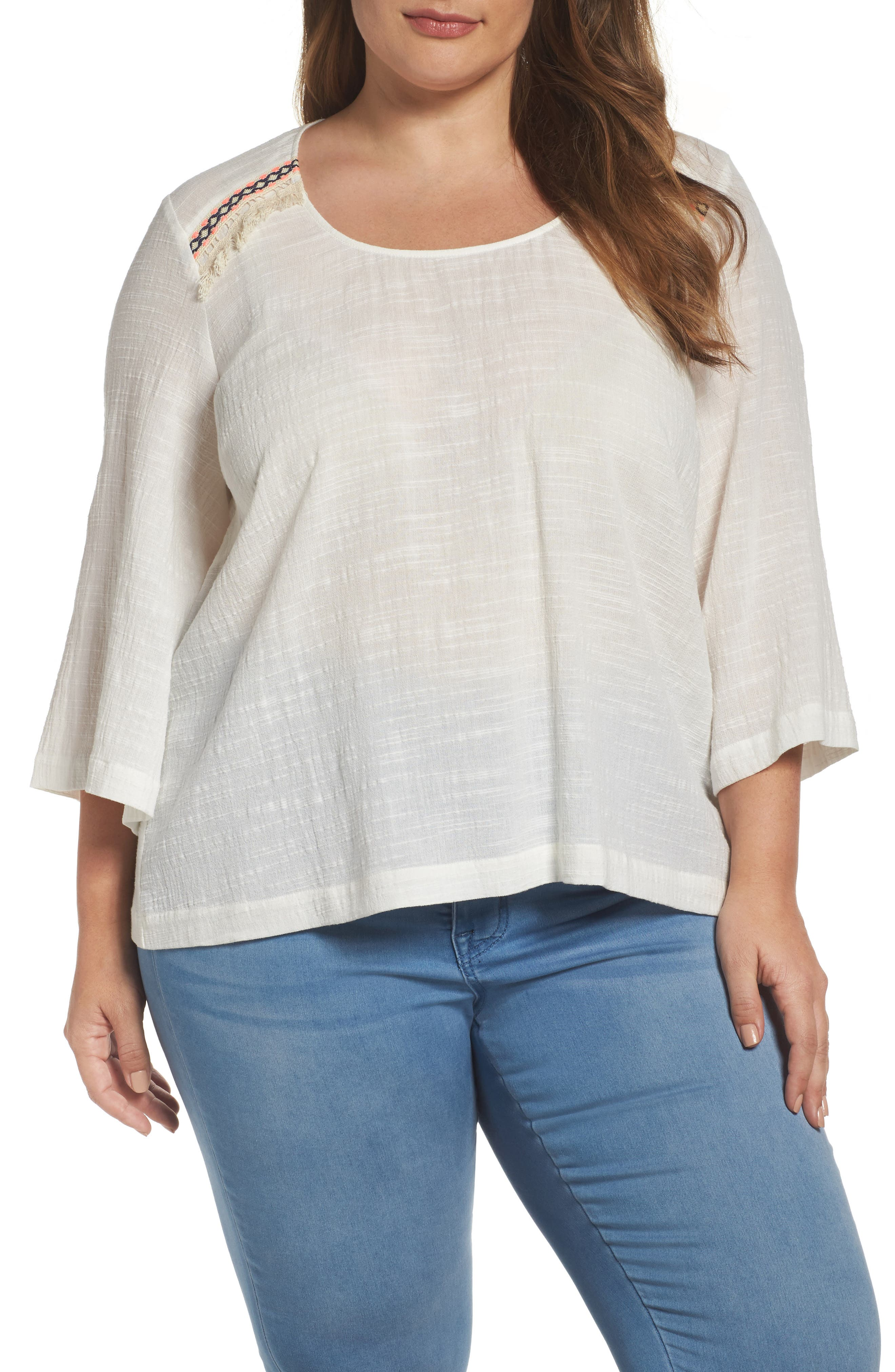 Melissa McCarthy Seven7 Embroidered Bell Sleeve Skimmer Top (Plus Size)