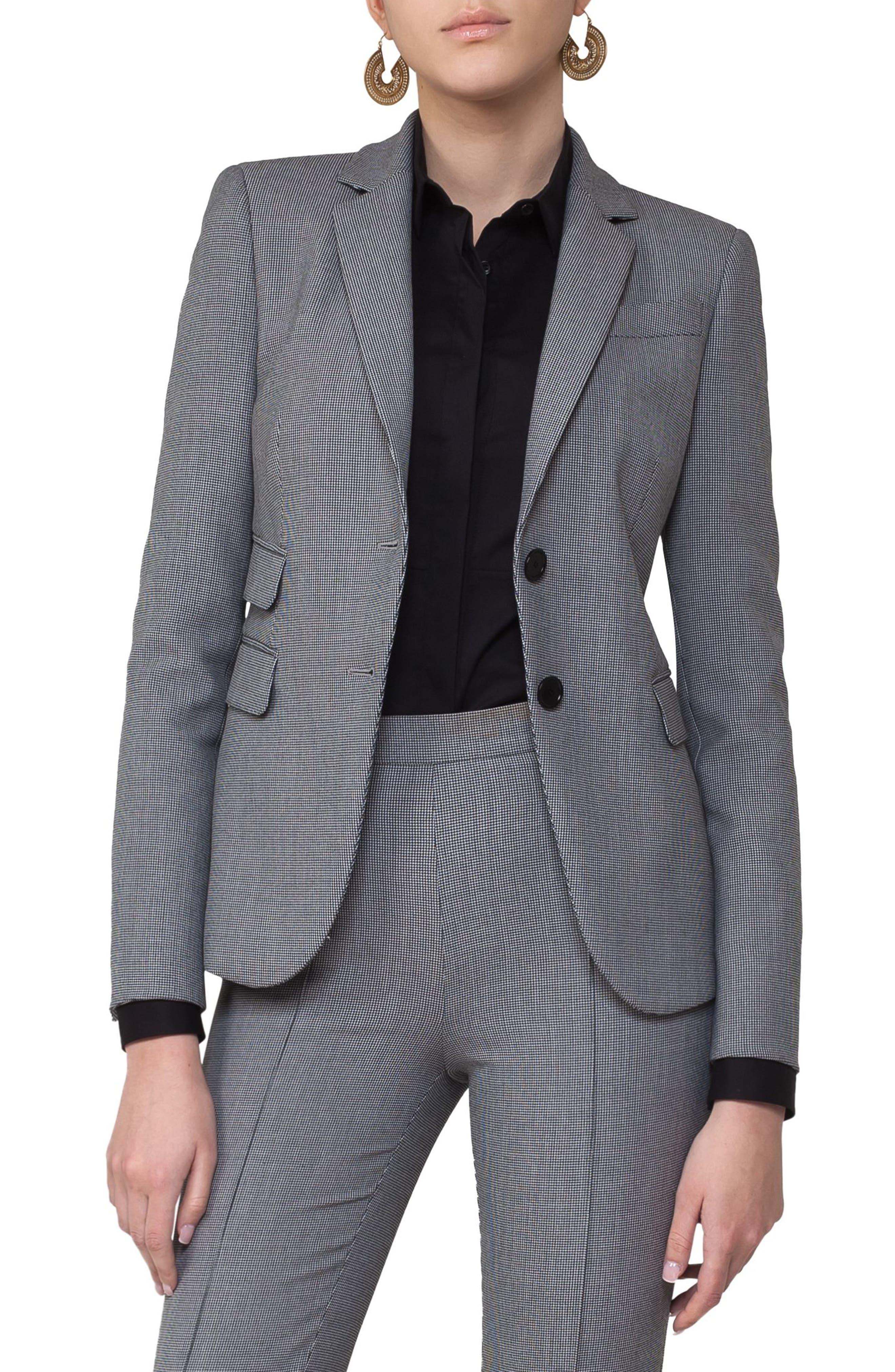 Main Image - Akris punto Mini Houndstooth Jersey Blazer