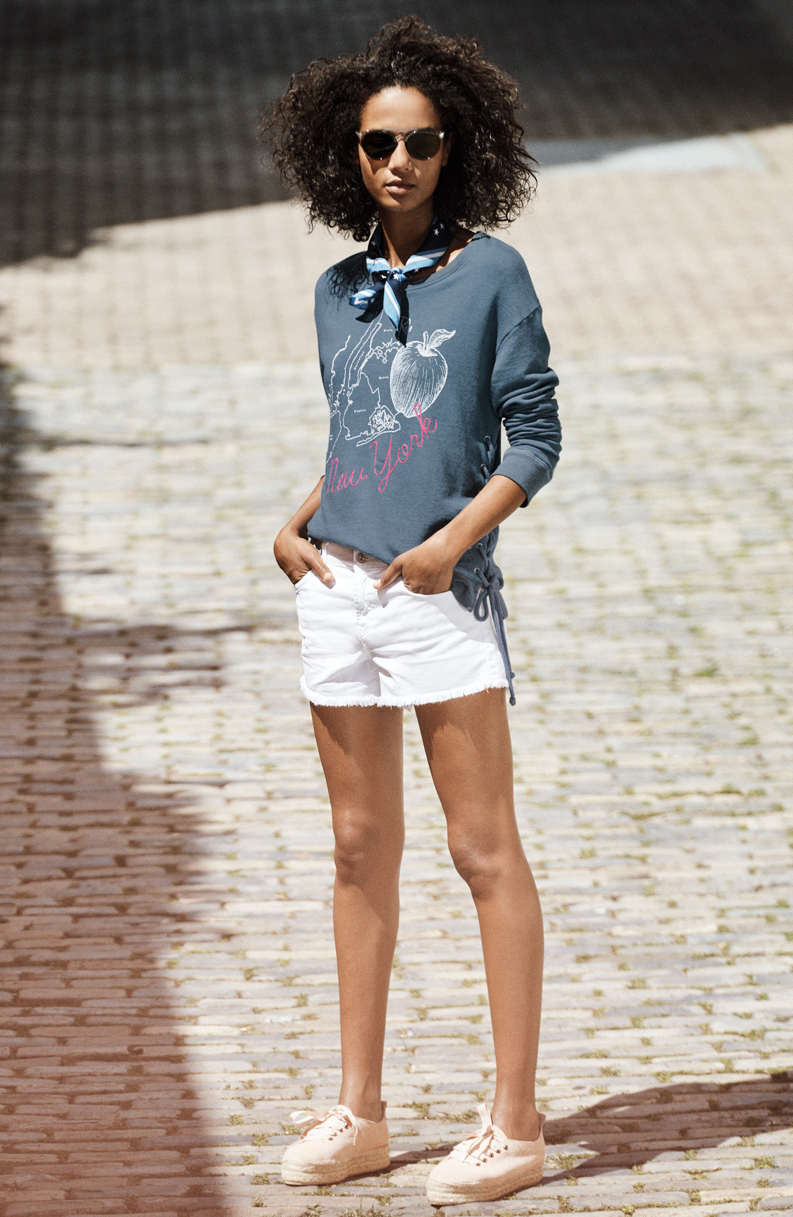 Sundry Sweatshirt & 7 For All Mankind® Shorts Outfit with Accessories