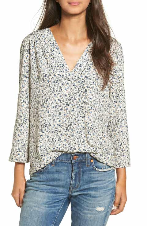 Hinge Print V-Neck Top