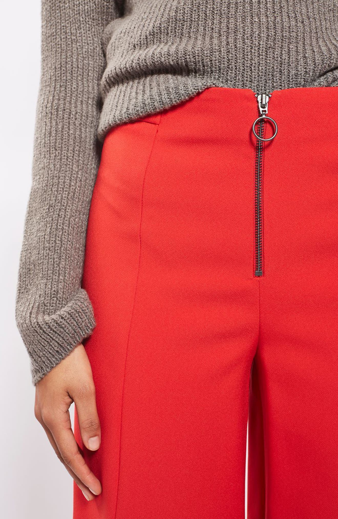 Alternate Image 5  - Topshop Meg Zip Frill Palazzo Trousers