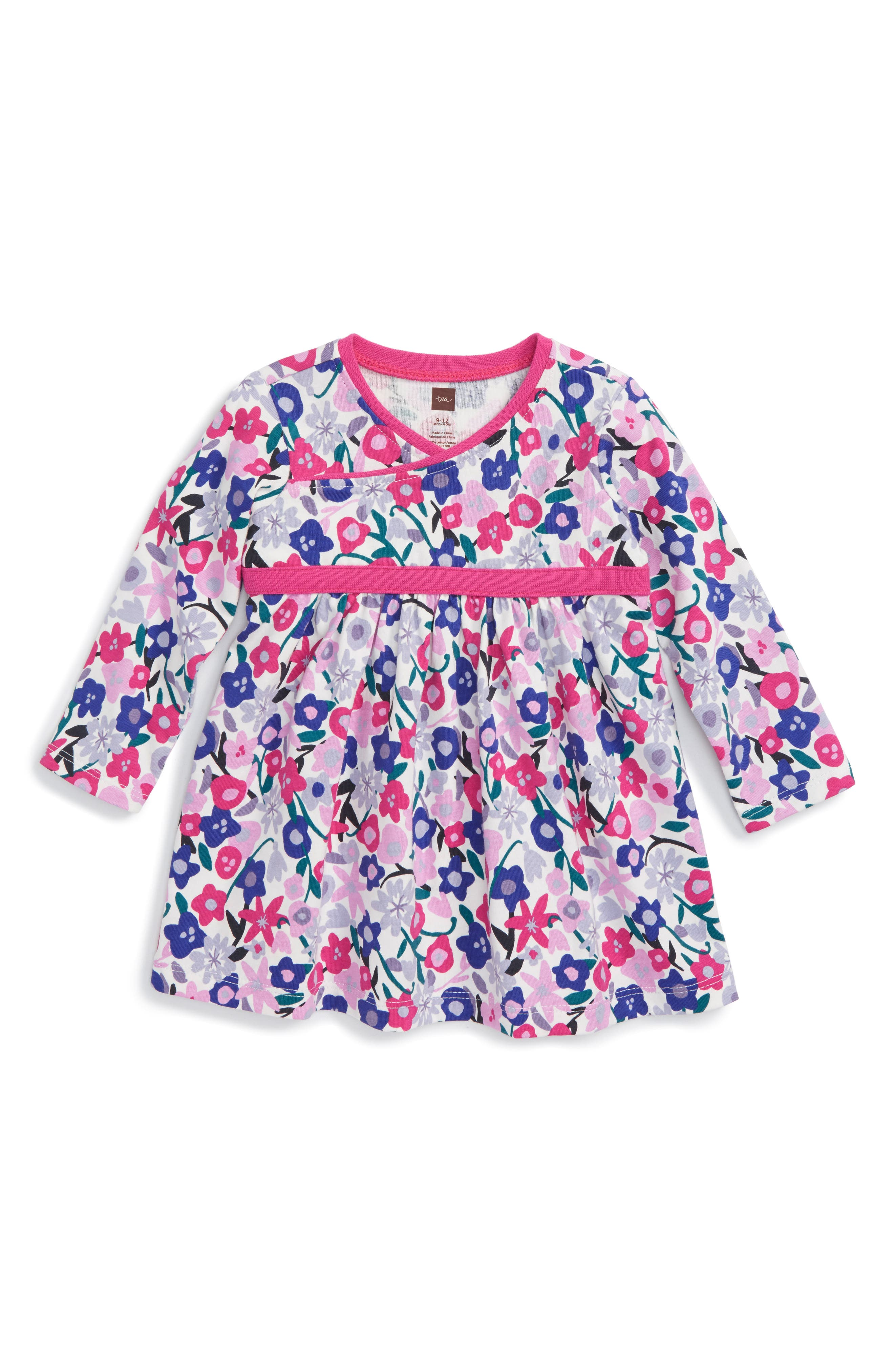 Tea Collection Floral Wrap Neck Dress (Baby Girls)