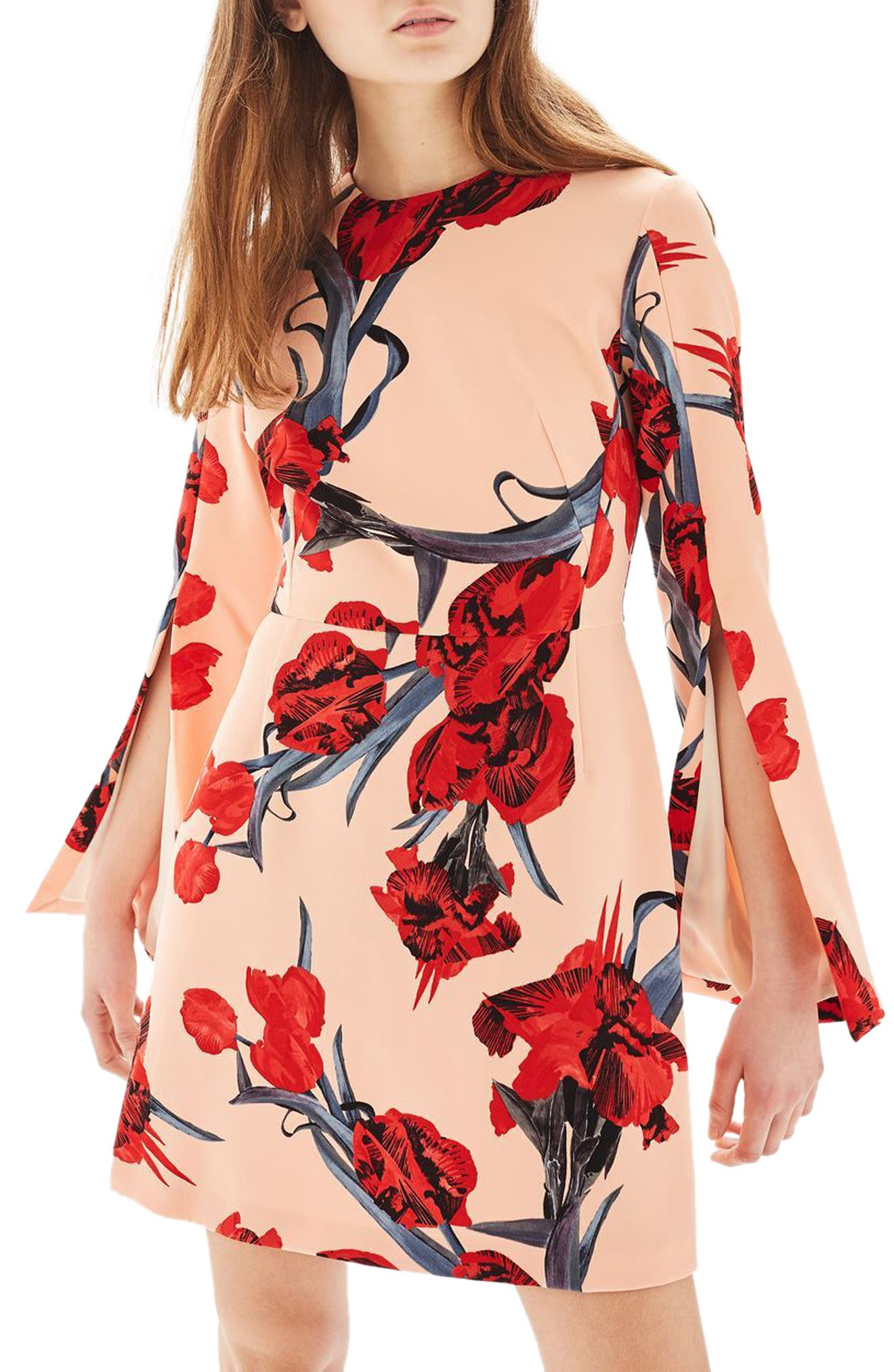 Topshop Floral Split Sleeve Dress