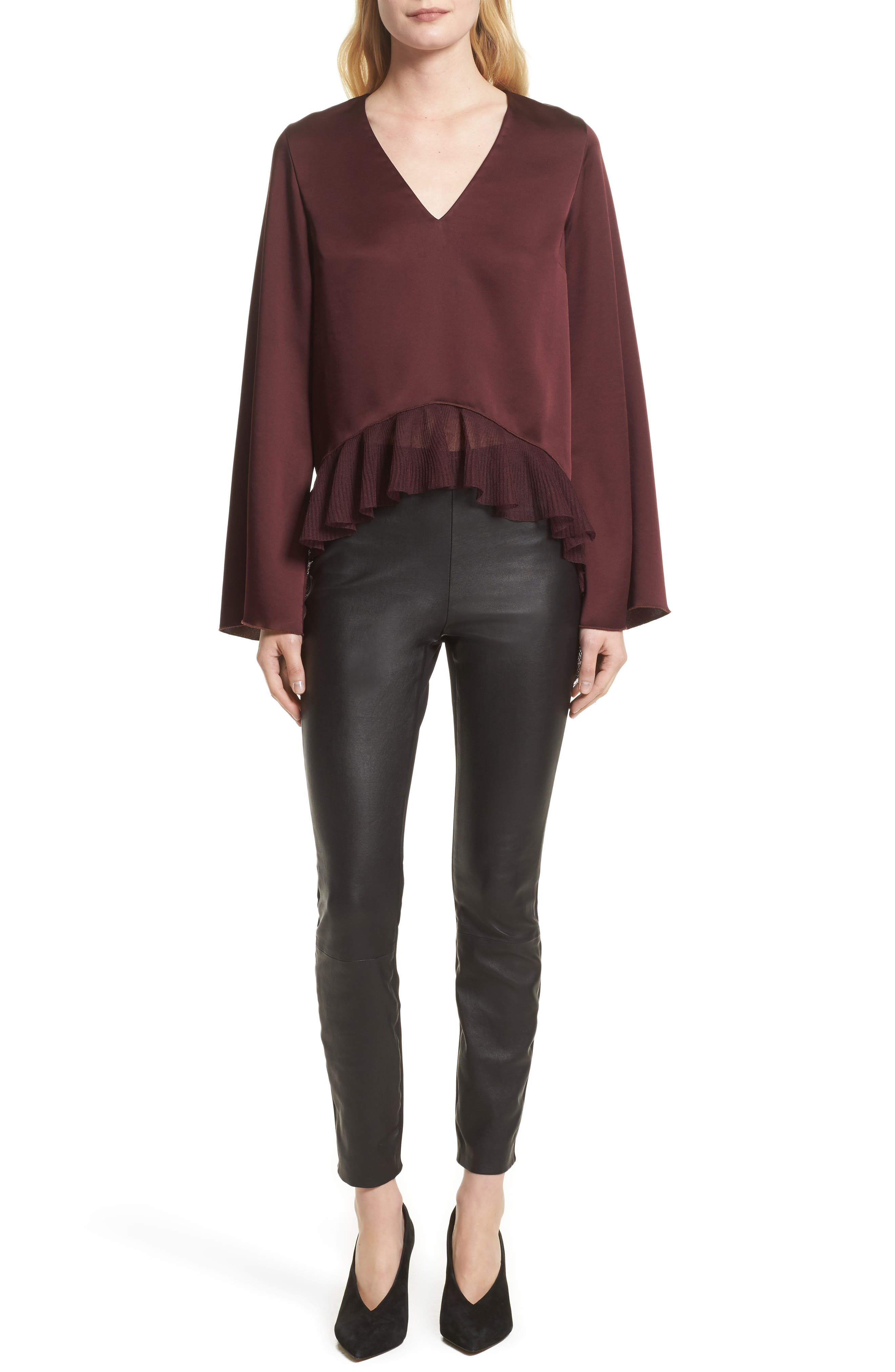 Alternate Image 8  - rag & bone Josephine Leather Front Skinny Pants