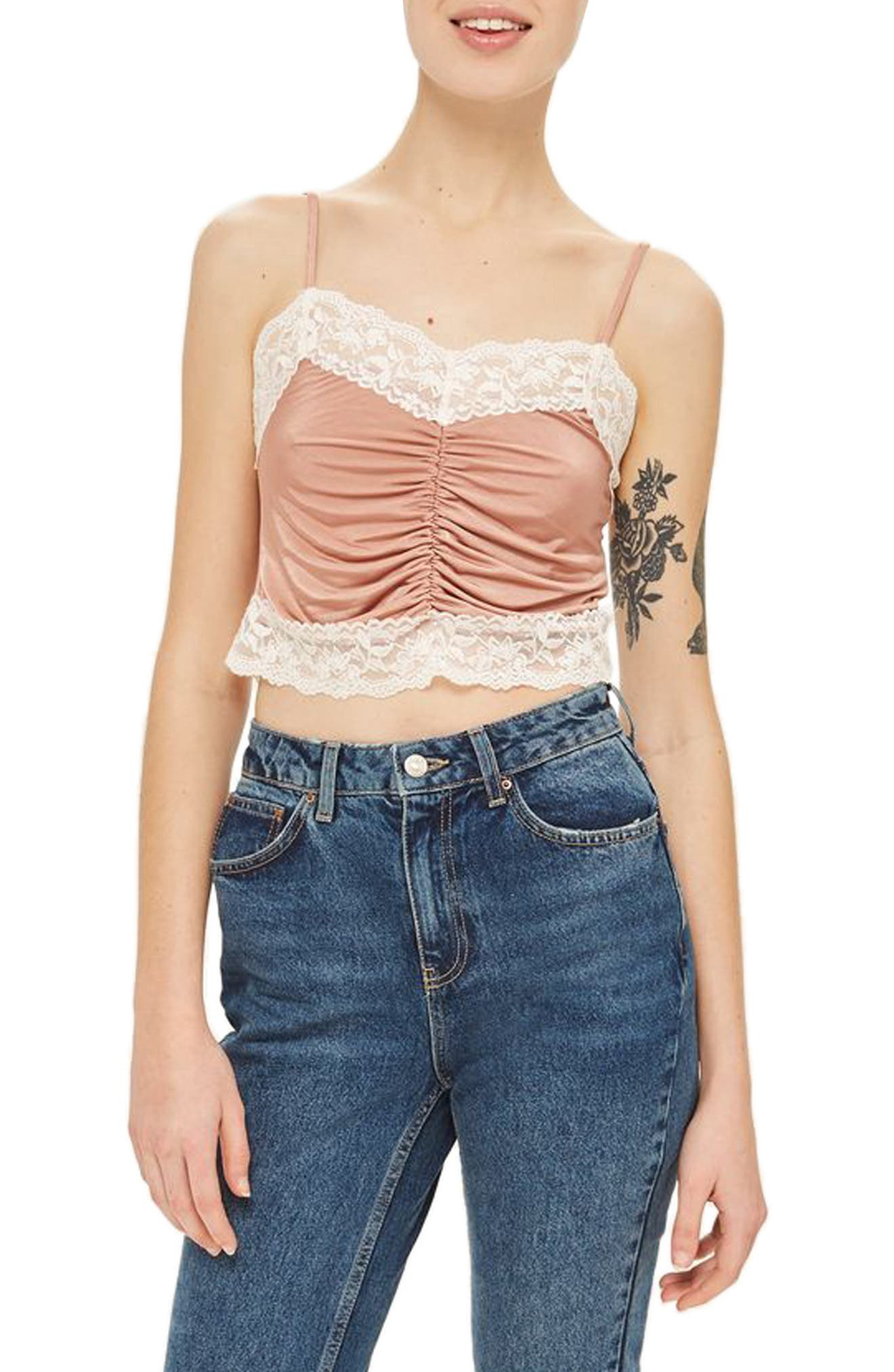 Topshop Ruched Satin & Lace Camisole