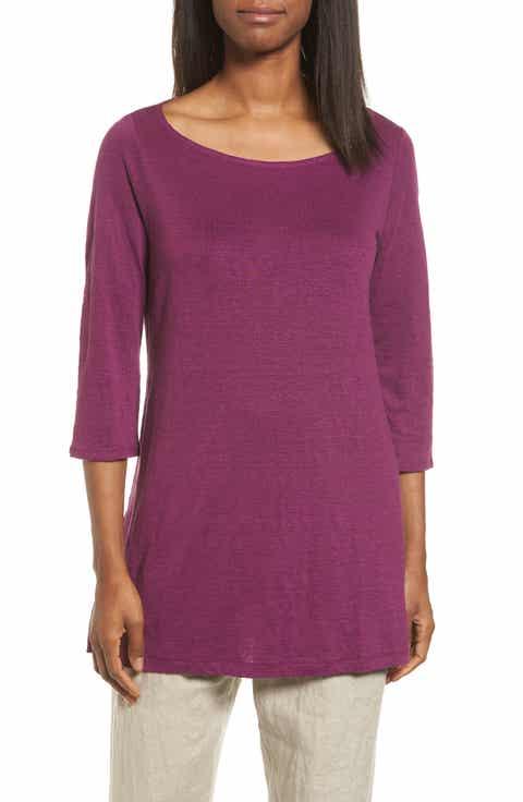 Eileen Fisher Bateau Neck Organic Linen Tunic (Regular   Petite)