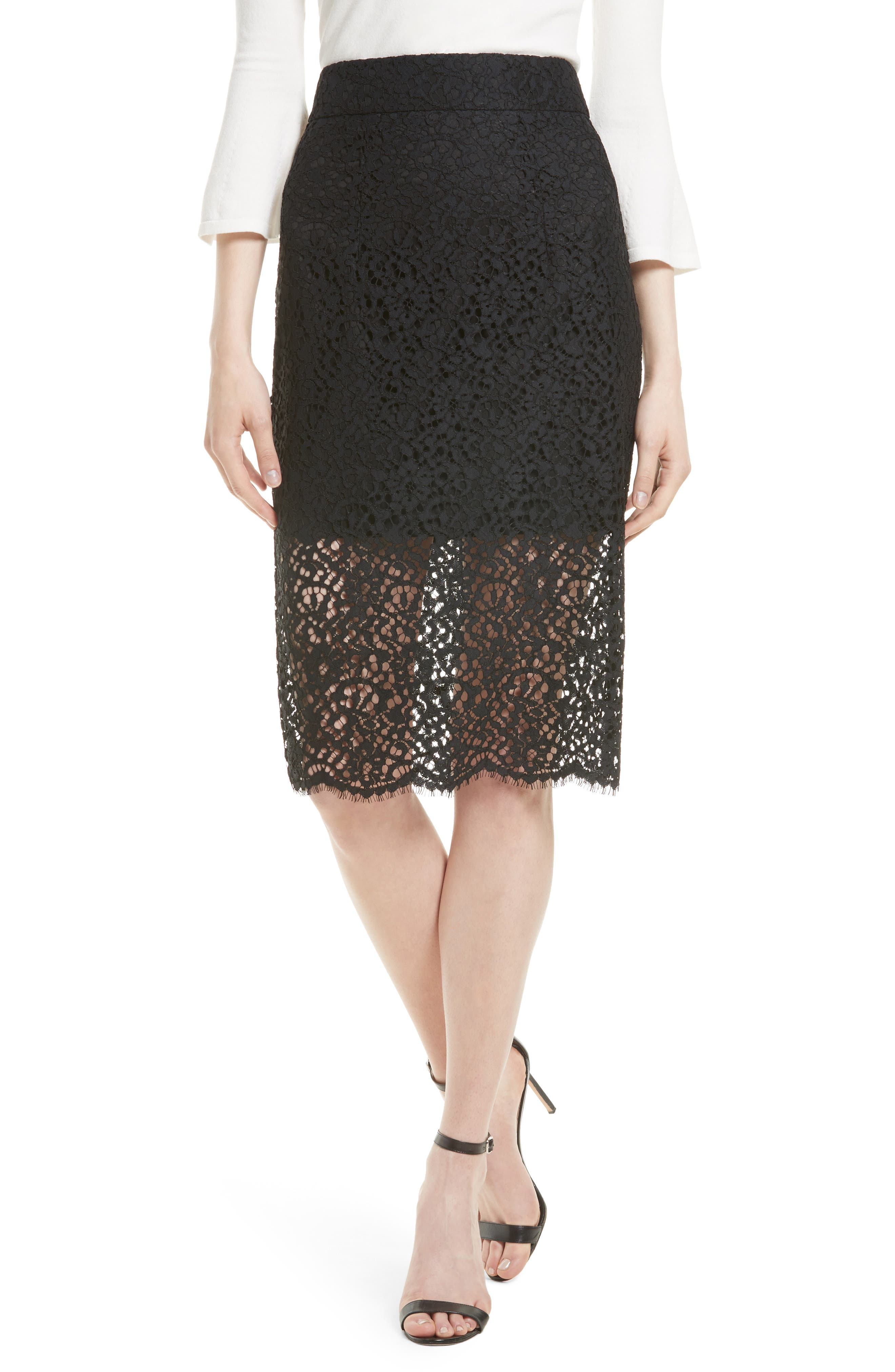 Milly Lace Classic Pencil Skirt