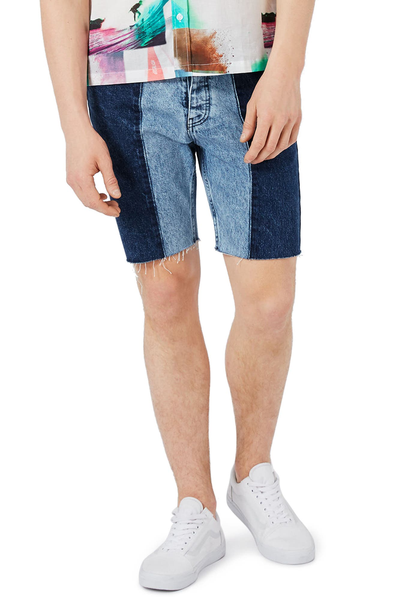 Topman Spliced Slim Fit Denim Shorts