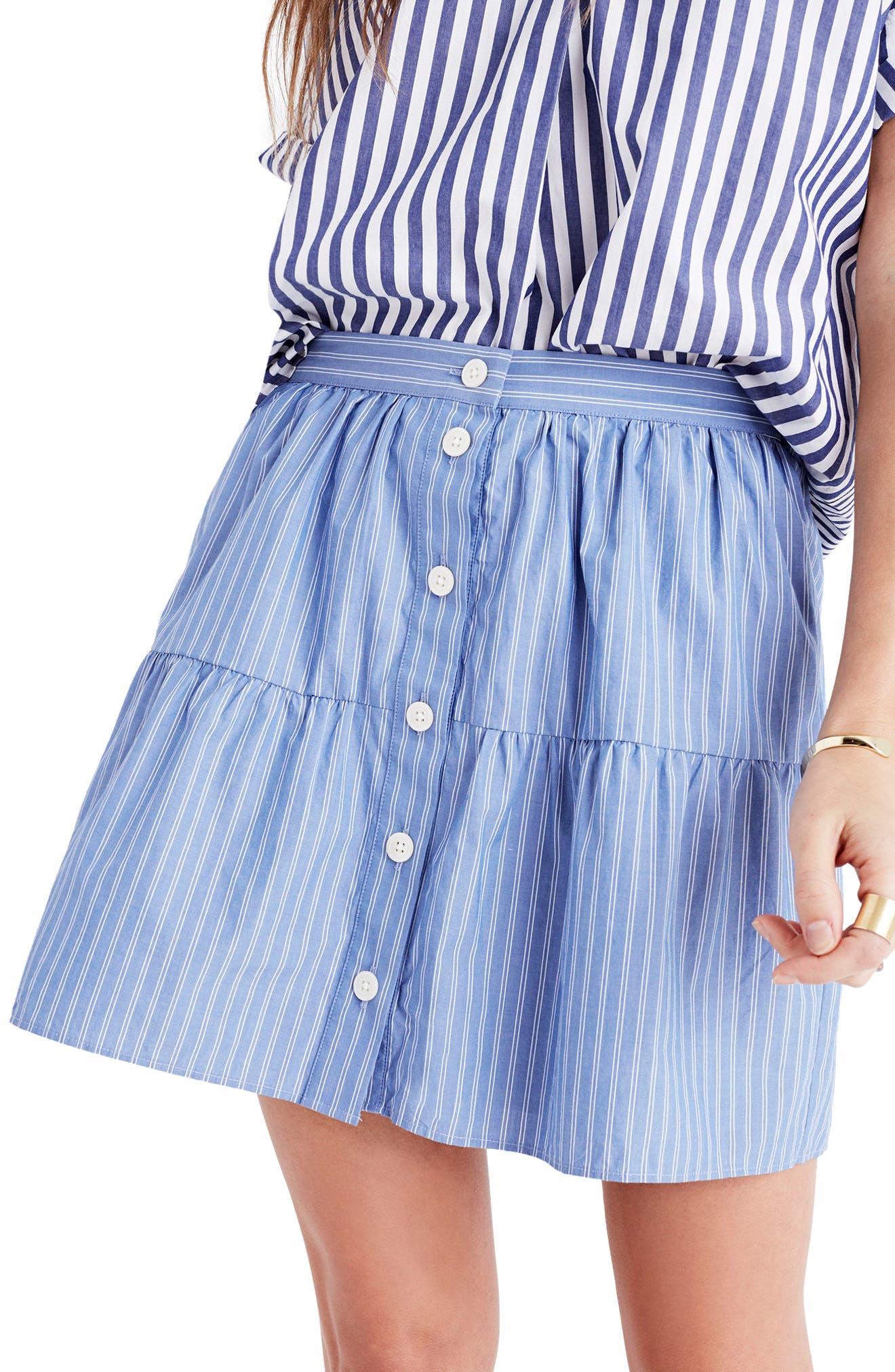 Main Image - Madewell Bistro Stripe Miniskirt