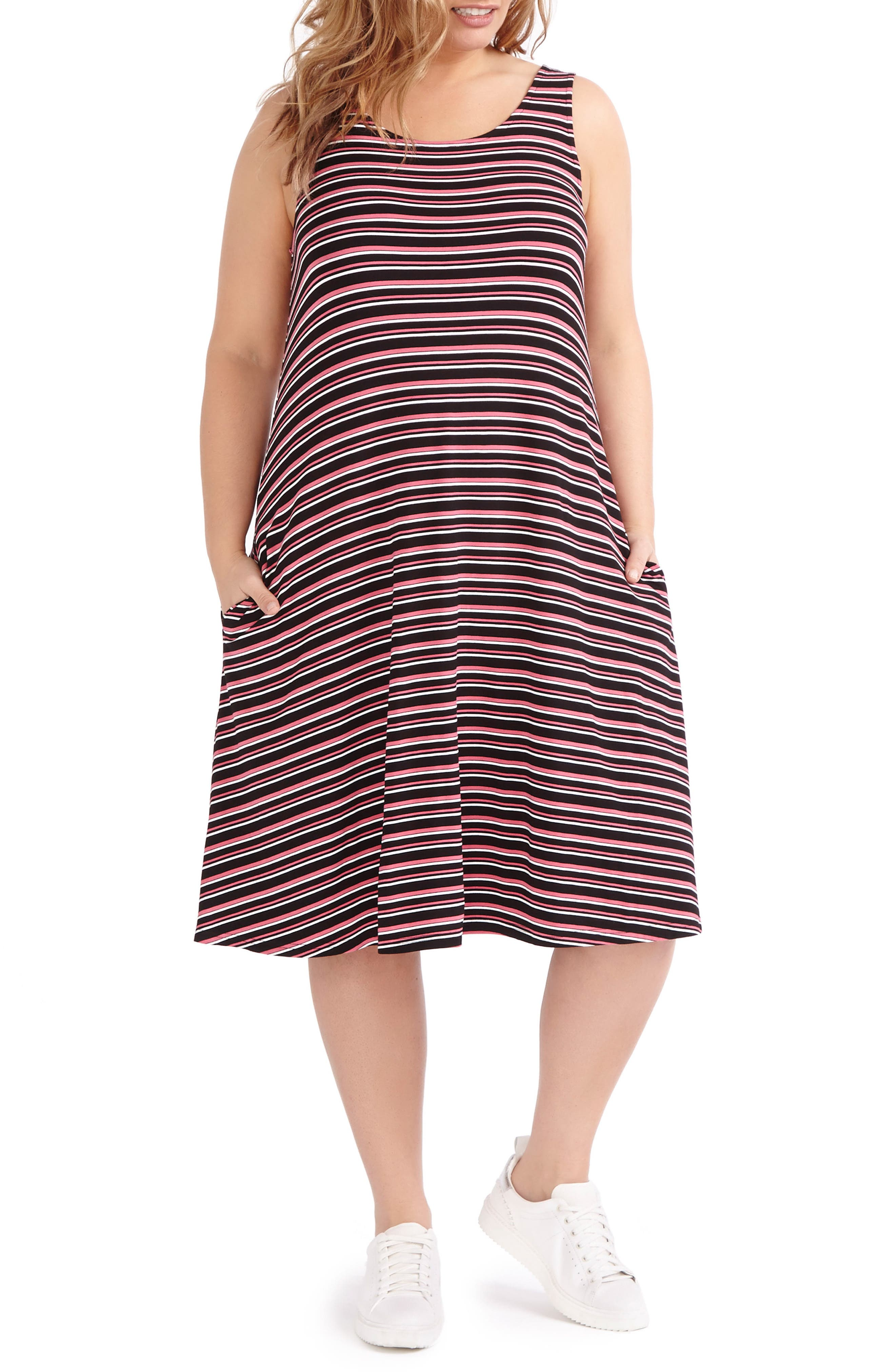 ADDITION ELLE LOVE AND LEGEND Stripe Swing Dress (Plus Size)