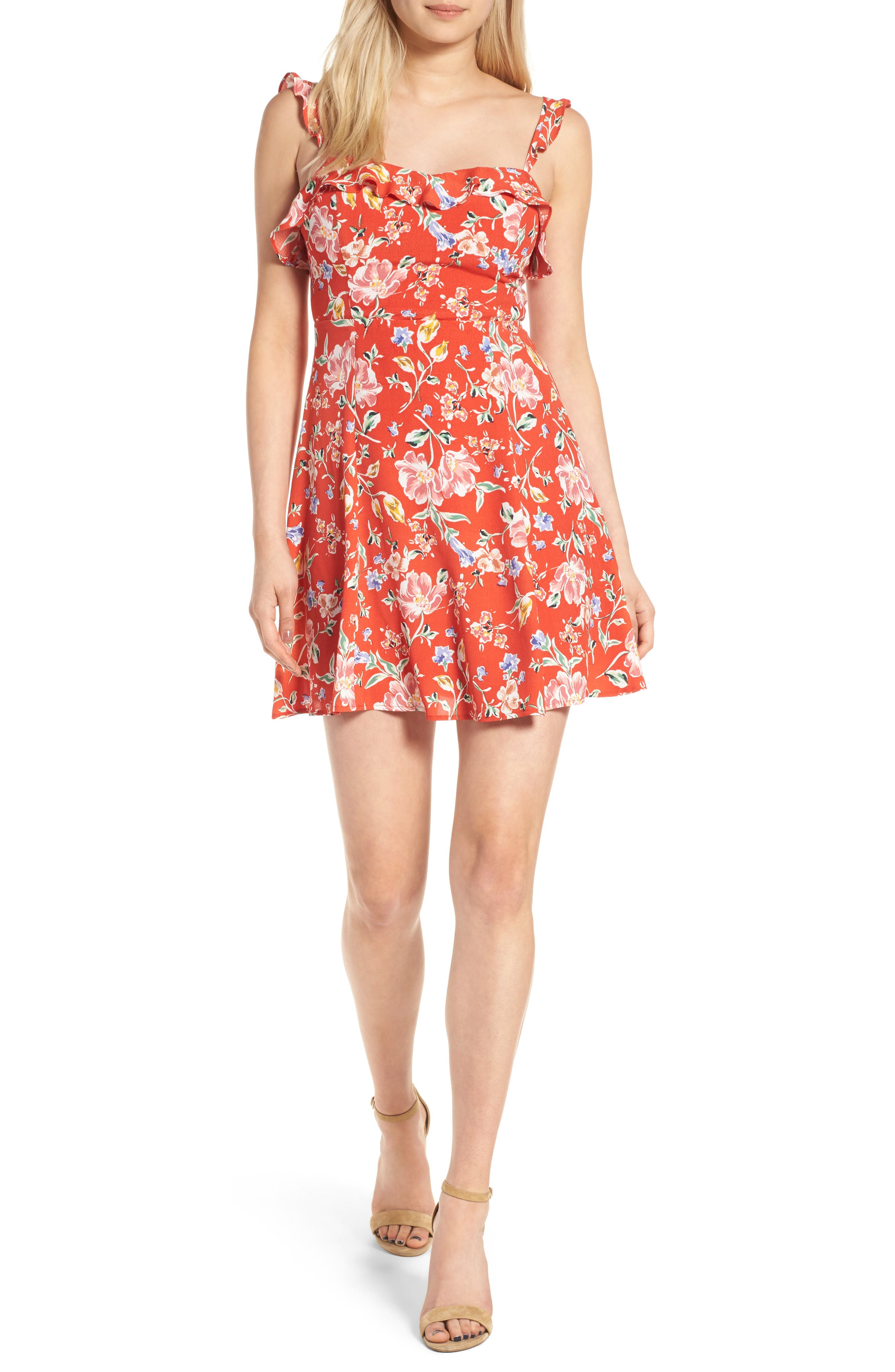 ASTR the Label Ruffle Floral Minidress