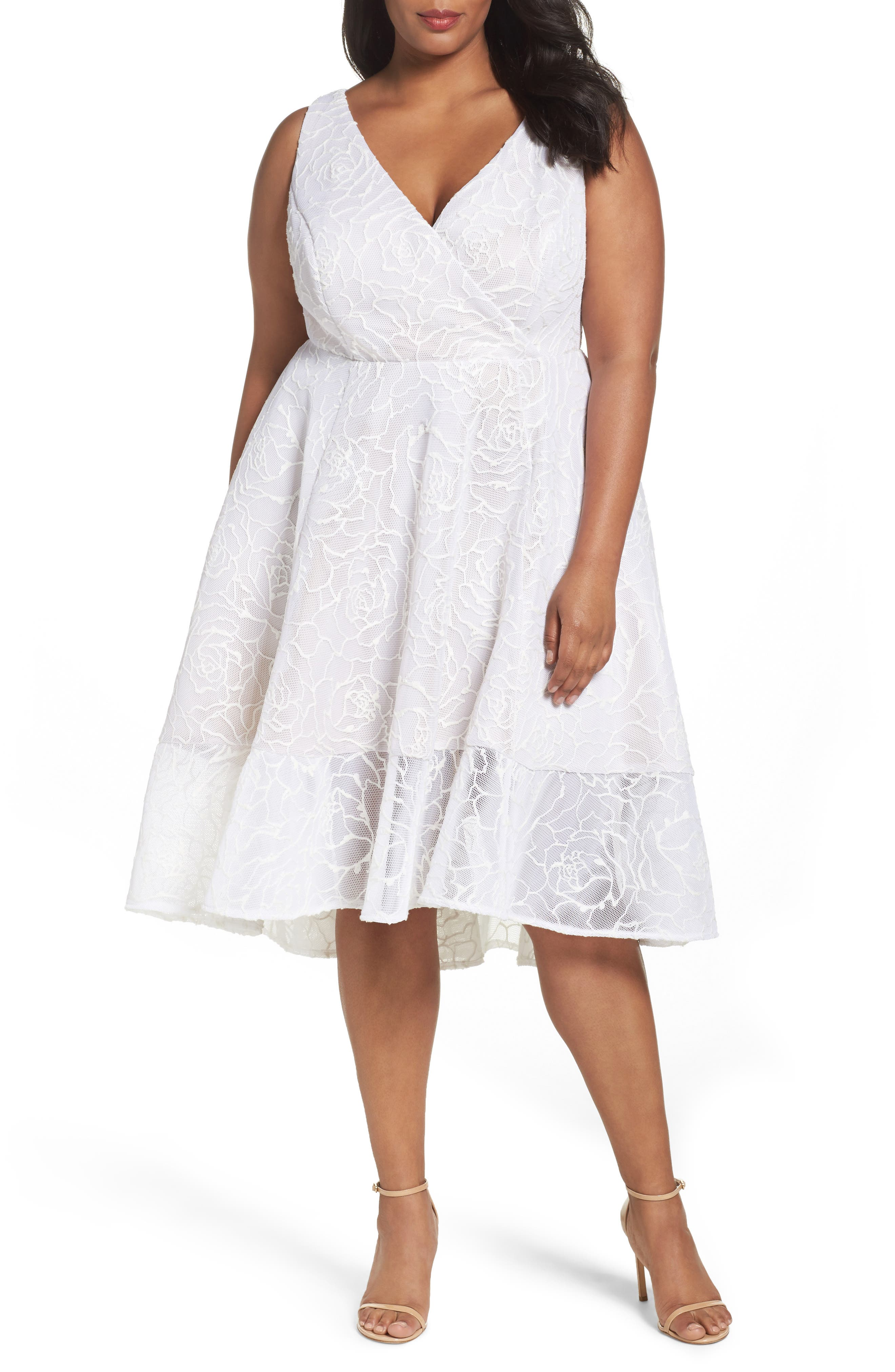 Adrianna Papell Bonded Mesh High/Low Dress (Plus Size)