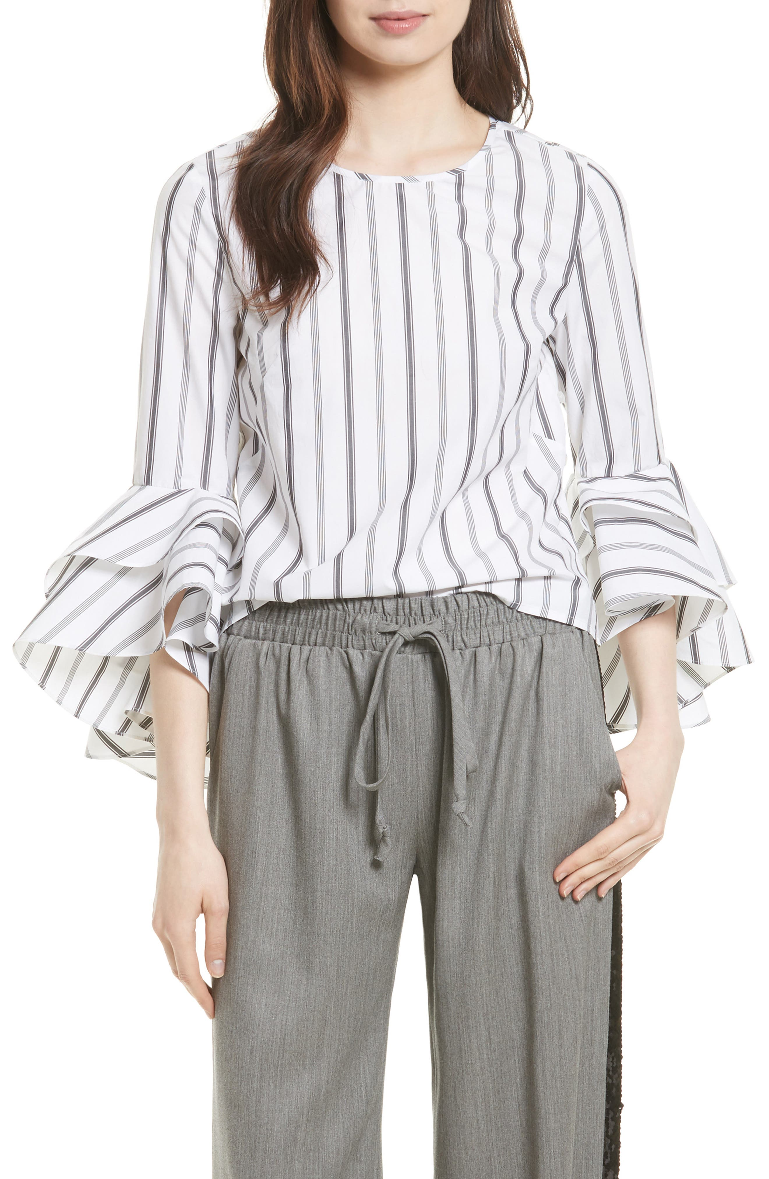 Milly Gabby Stripe Bell Sleeve Top