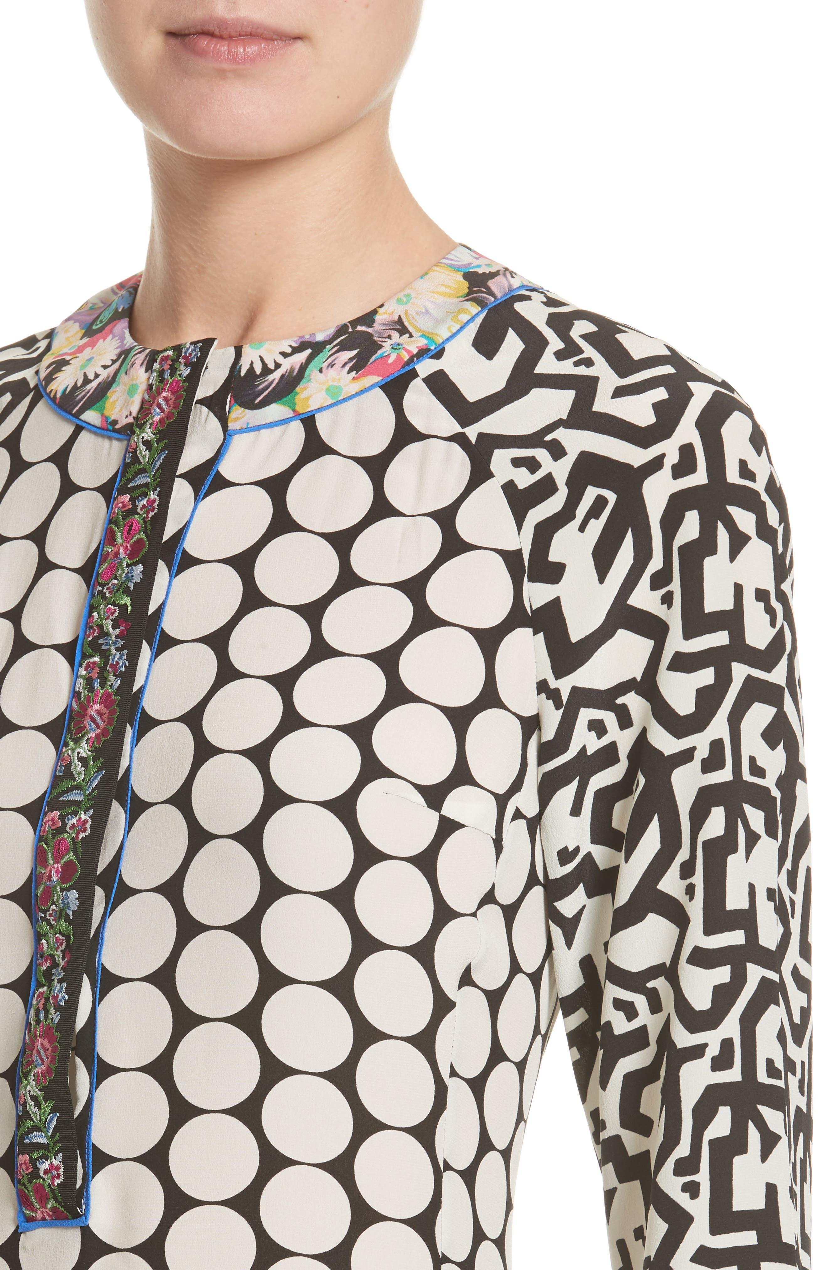 Alternate Image 6  - Etro Polka Dot Print Silk Crêpe de Chine Flutter Dress
