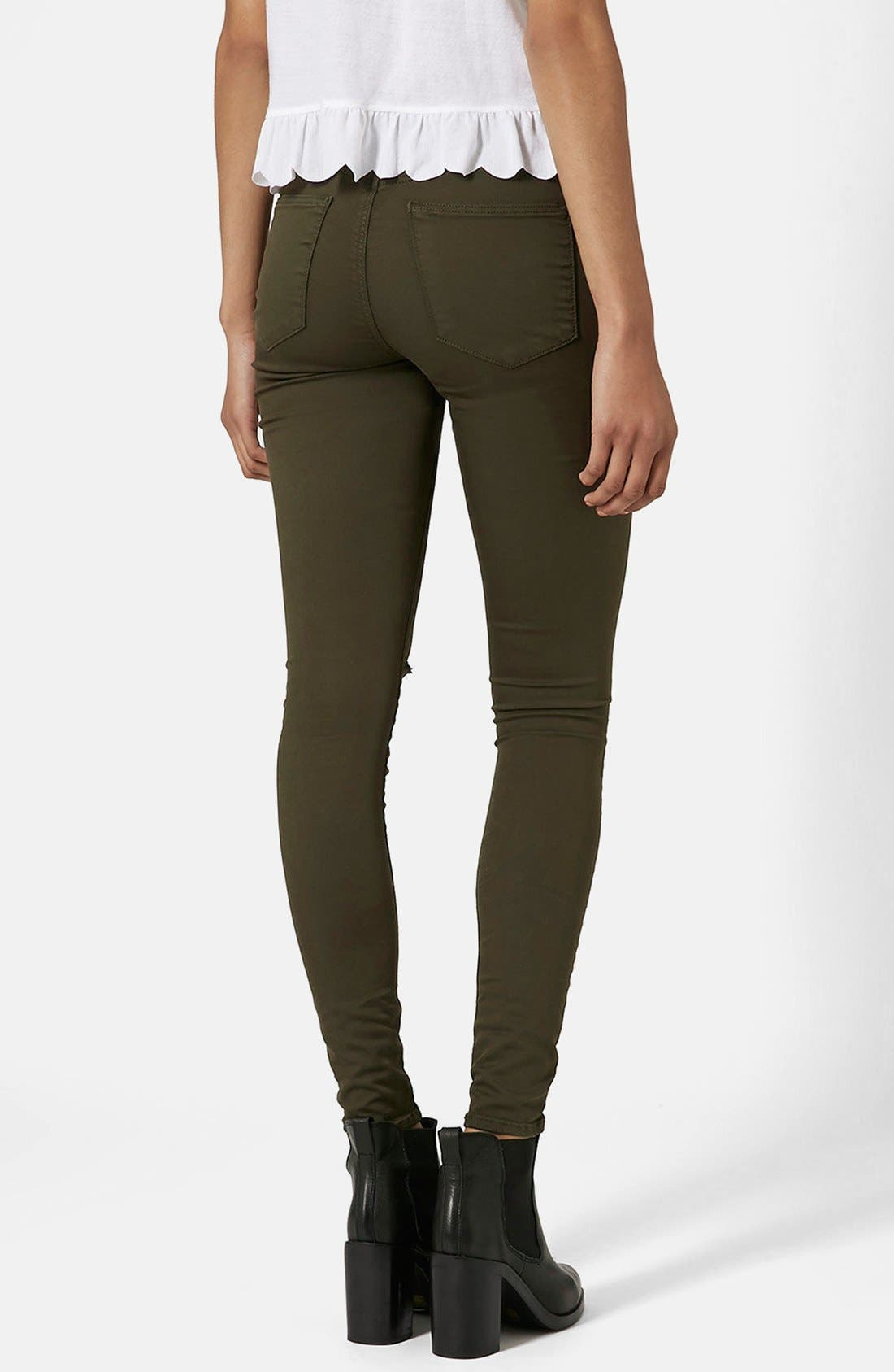 Alternate Image 2  - Topshop Moto 'Leigh' Ripped Skinny Jeans (Olive) Short