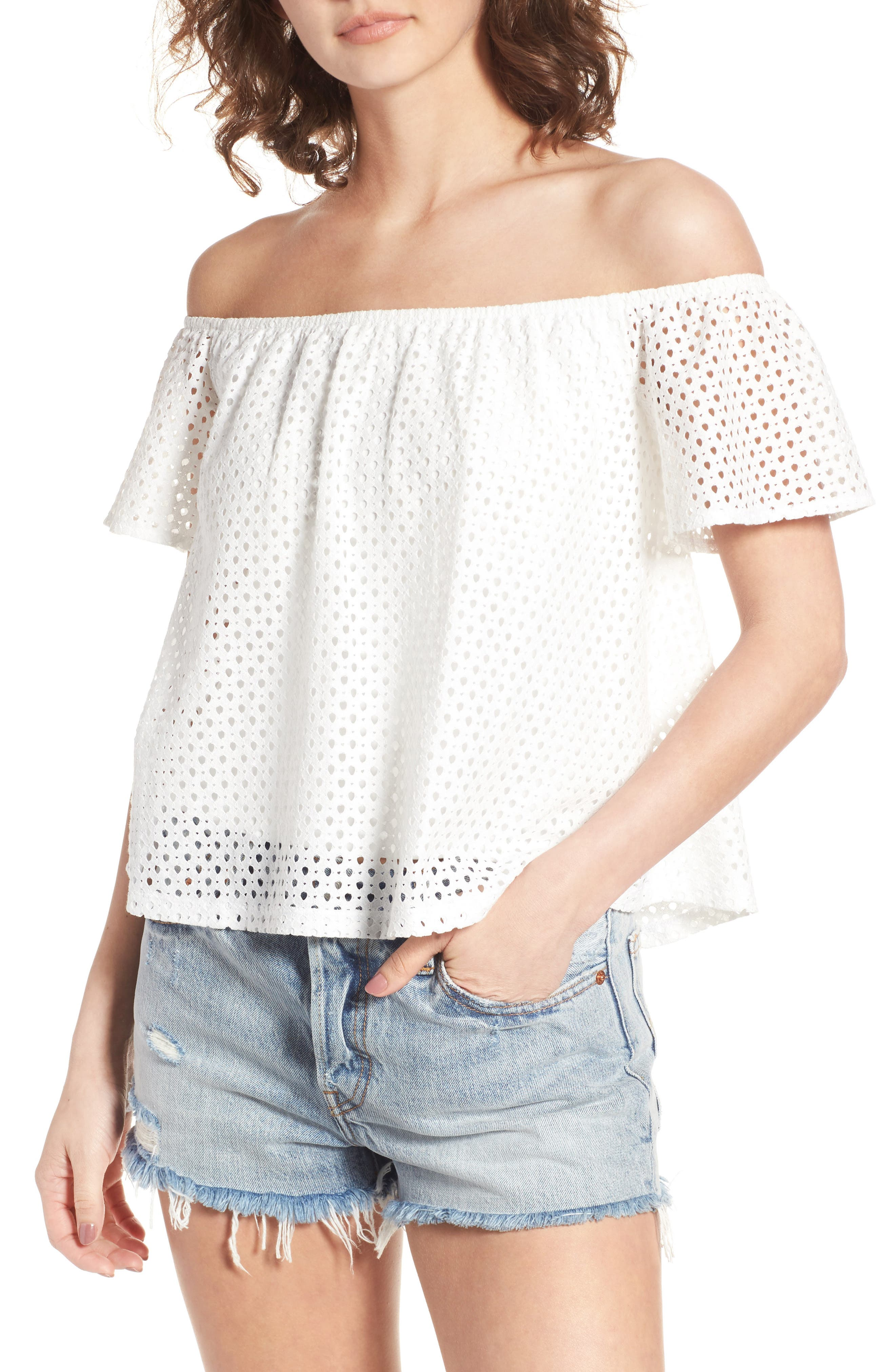 Main Image - BP. Eyelet Off the Shoulder Top