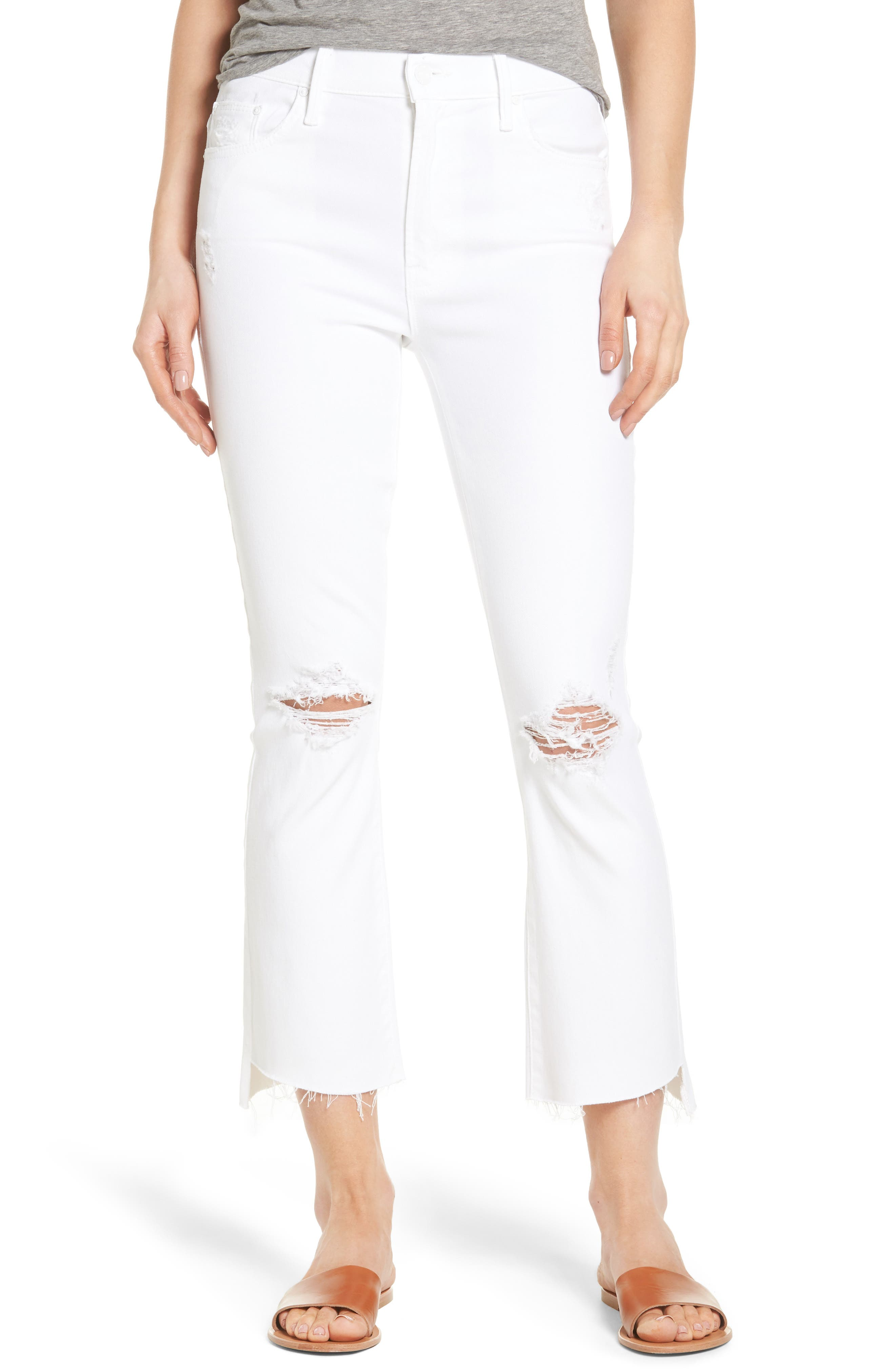 MOTHER The Insider Step Hem Crop Bootcut Jeans (Cracked Slipper)