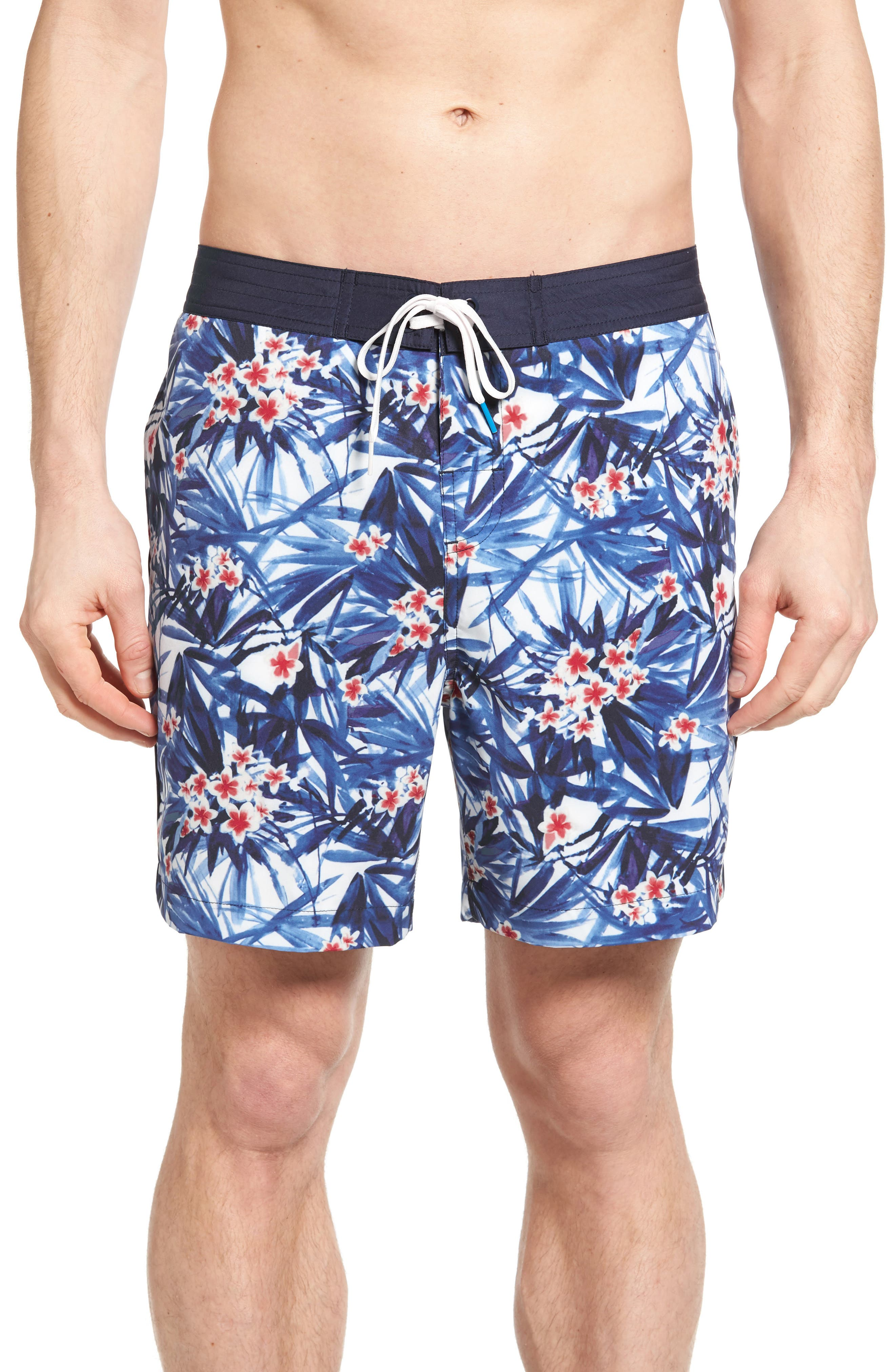 Michael Bastian Tropical Floral Print Board Shorts