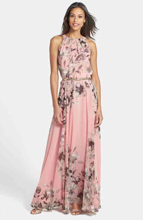 Eliza J Belted Chiffon Maxi Dress (Regular   Petite)