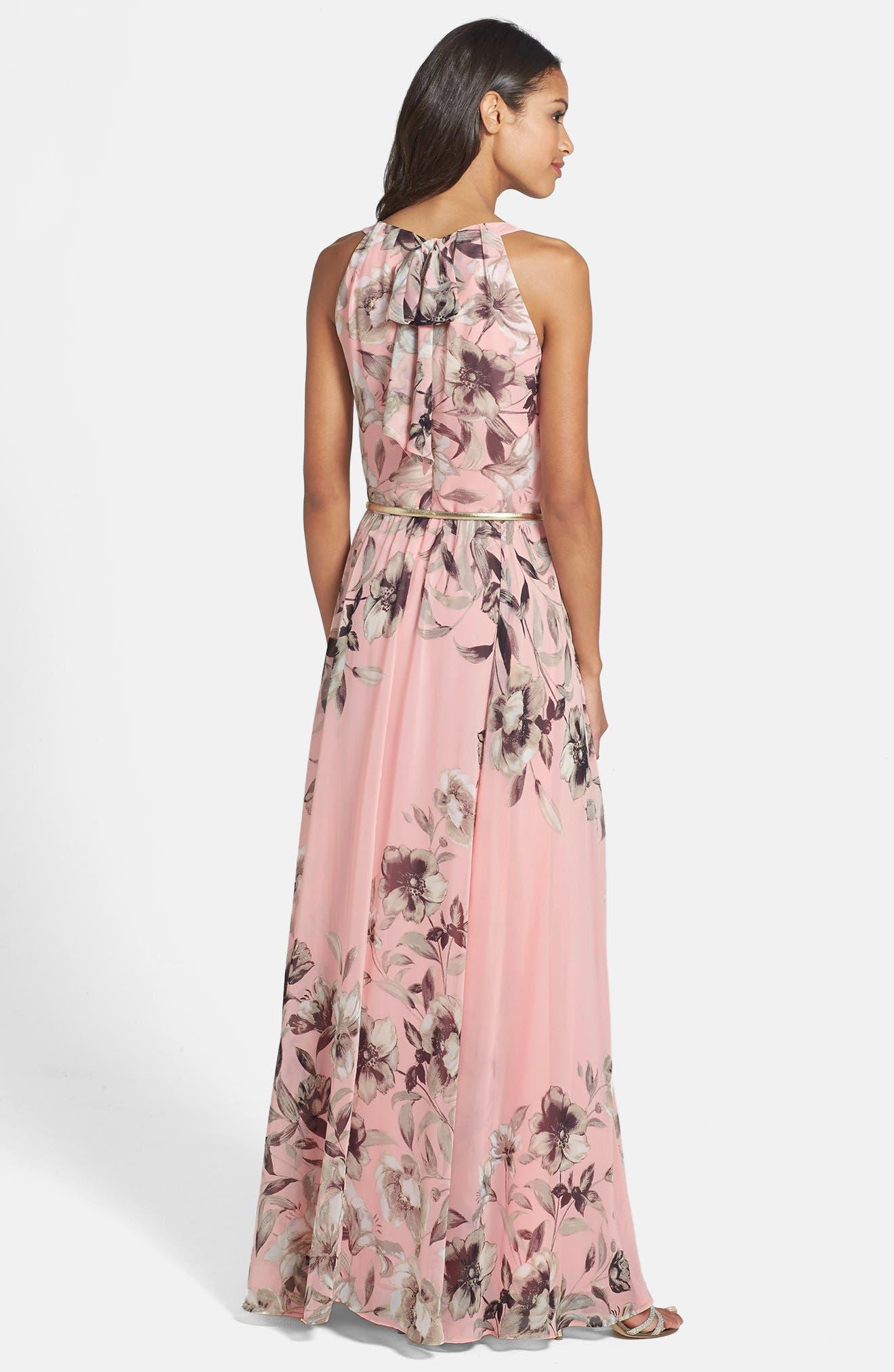 Alternate Image 2  - Eliza J Belted Chiffon Maxi Dress (Regular & Petite)