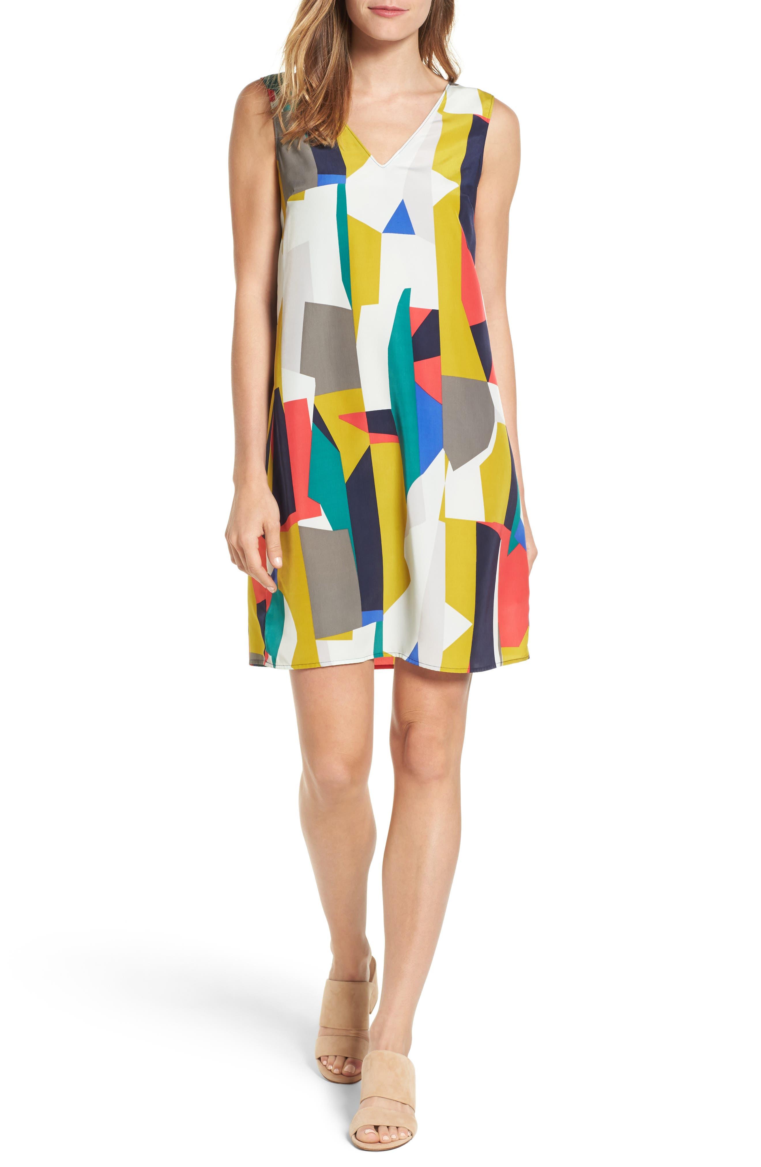 Alternate Image 1 Selected - Halogen® V-Neck Shift Dress (Regular & Petite)
