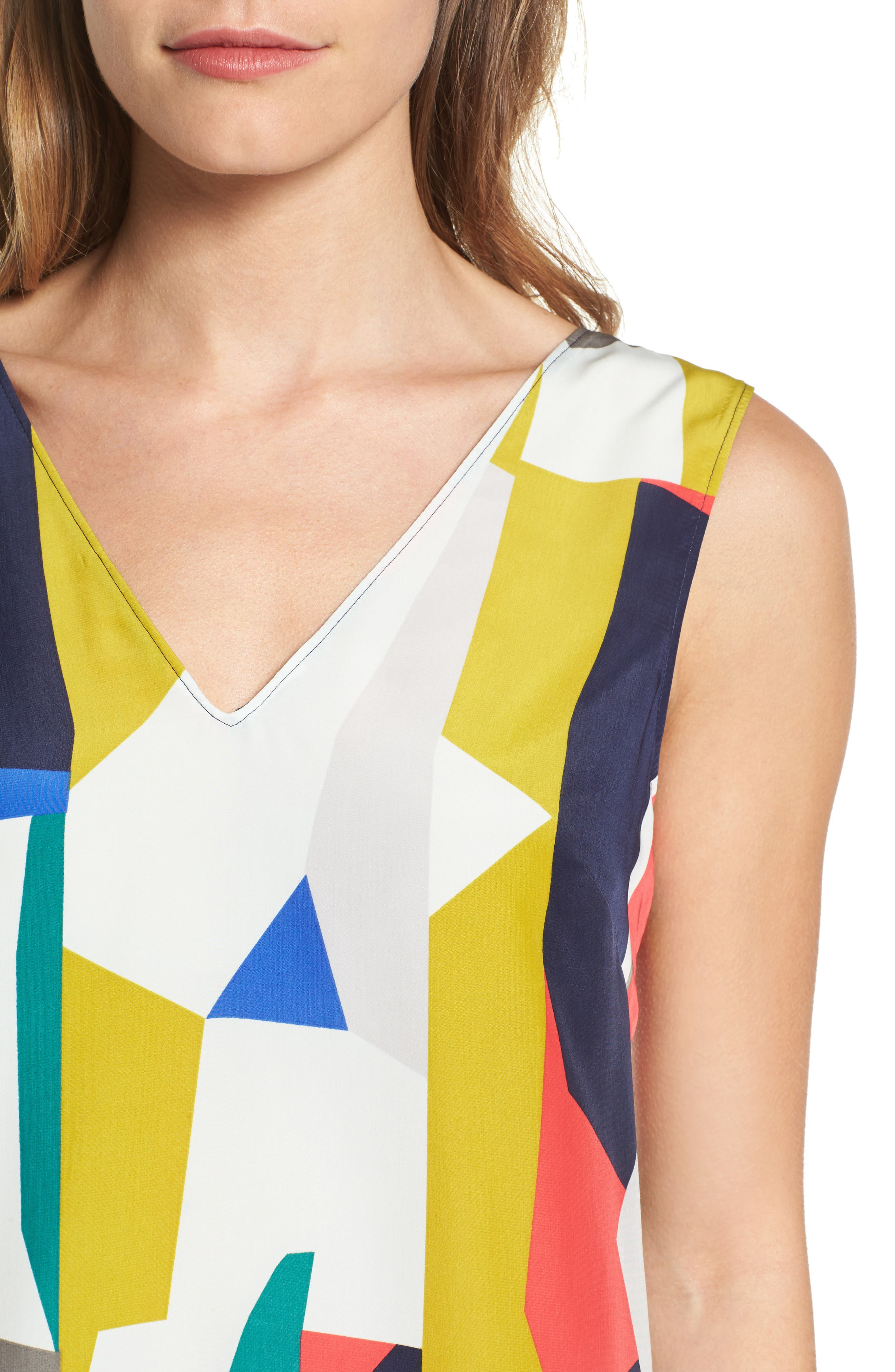 Alternate Image 4  - Halogen® V-Neck Shift Dress (Regular & Petite)