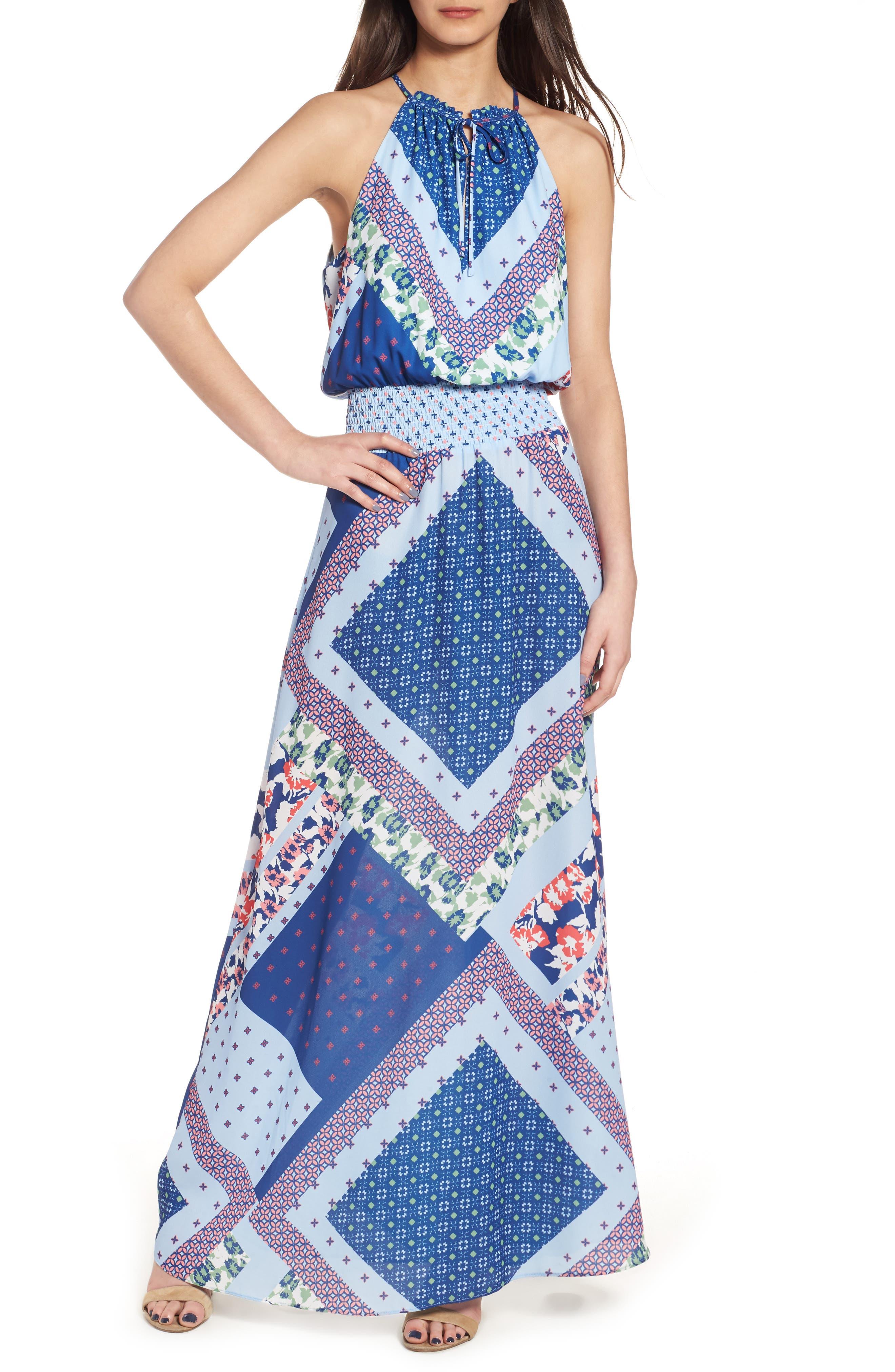 devlin Estella Mixed Print Maxi Dress