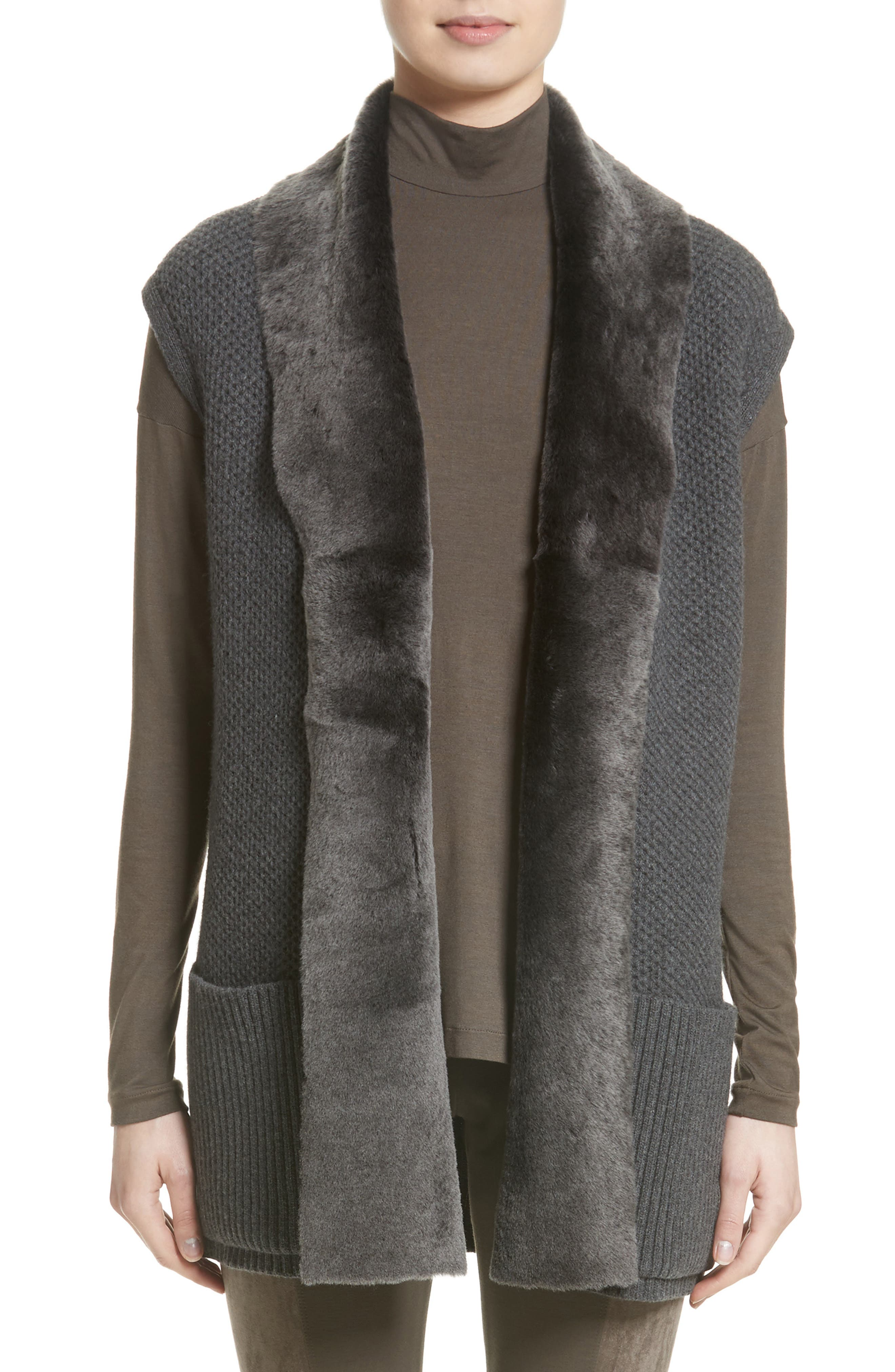 Lafayette 148 New York Merino & Cashmere Vest with Genuine Shearling Trim (Nordstrom Exclusive)