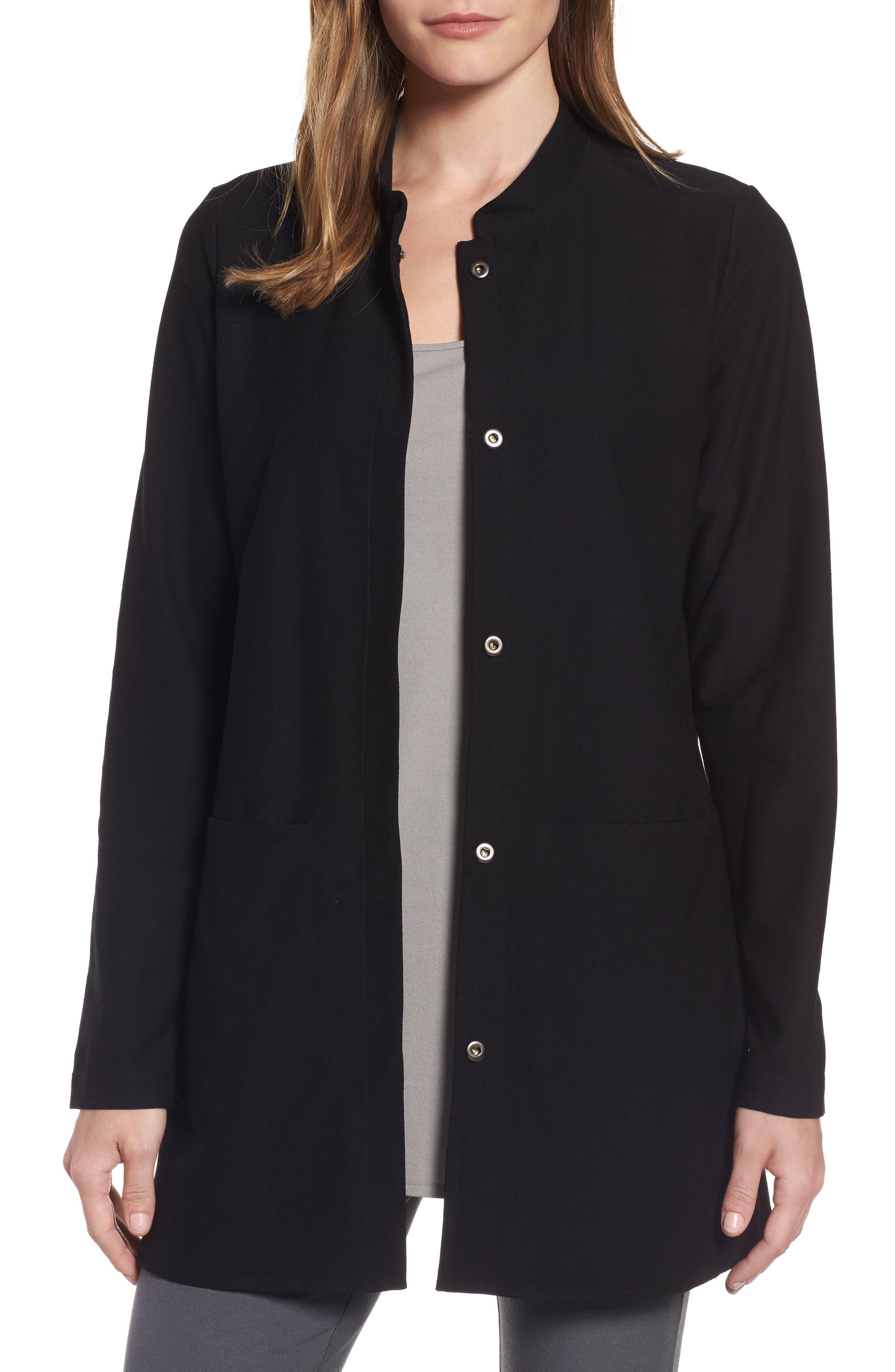 Eileen Fisher Mandarin Collar Knit Jacket (Regular & Petite)