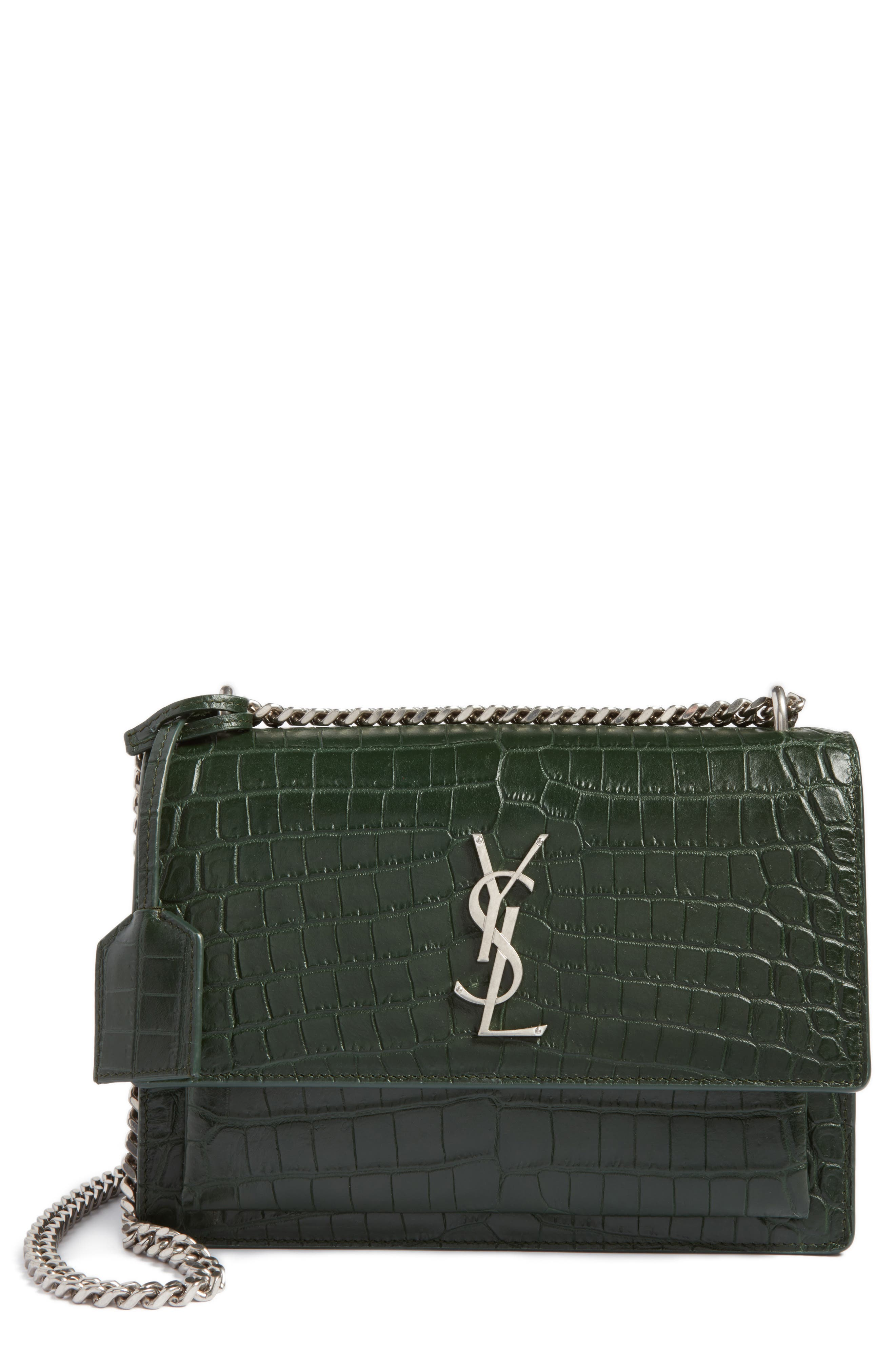 Saint Laurent Medium Sunset Croc Embossed Leather Shoulder Bag