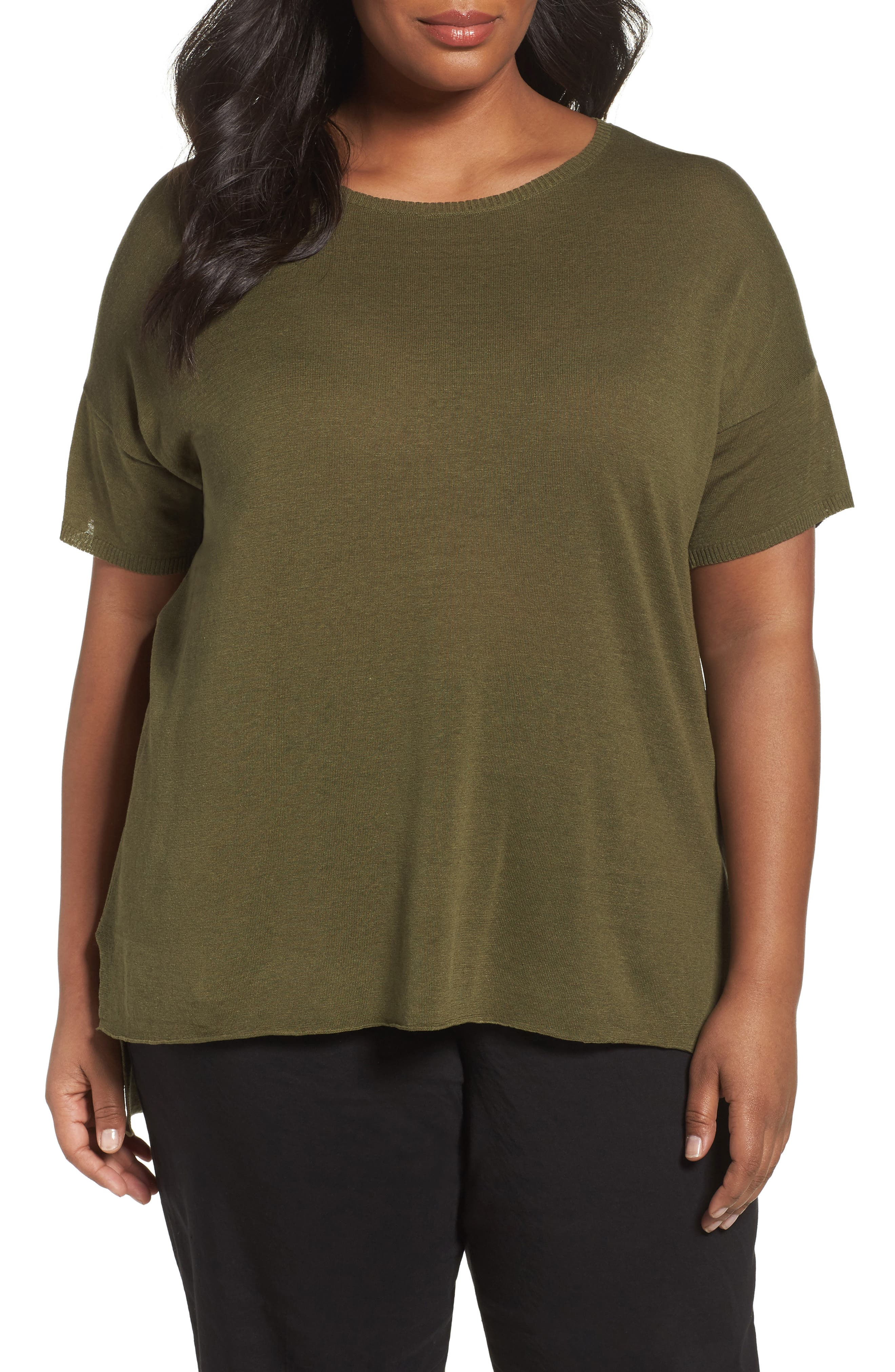 Eileen Fisher Silk Blend Tunic Sweater (Plus Size)