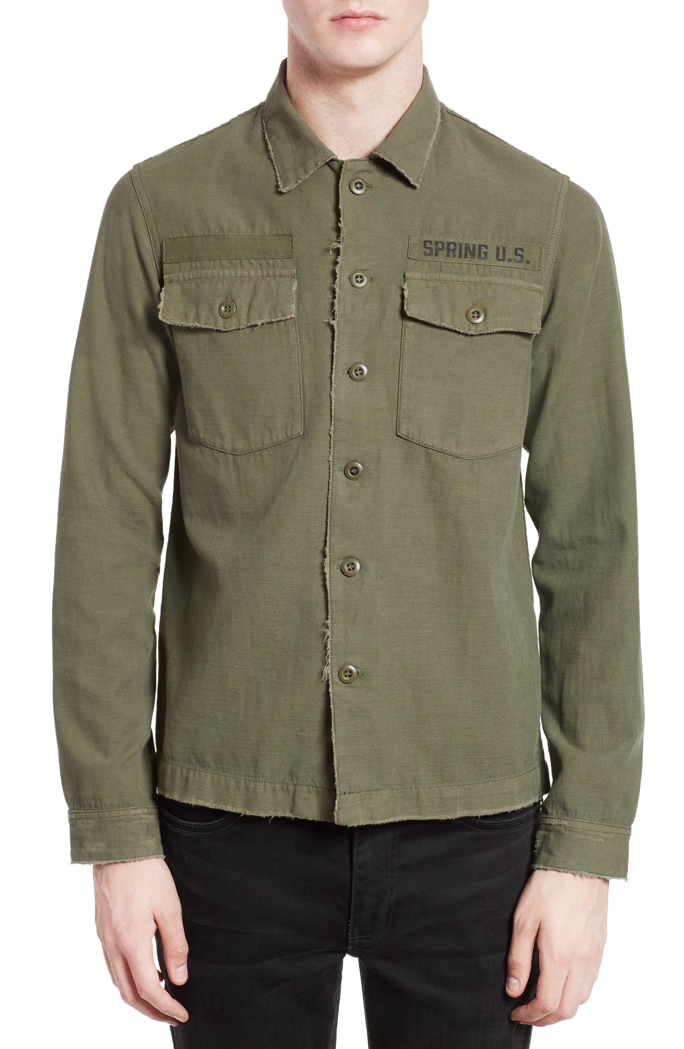 The Kooples Embroidered Abrasion Effect Cotton & Linen Shirt