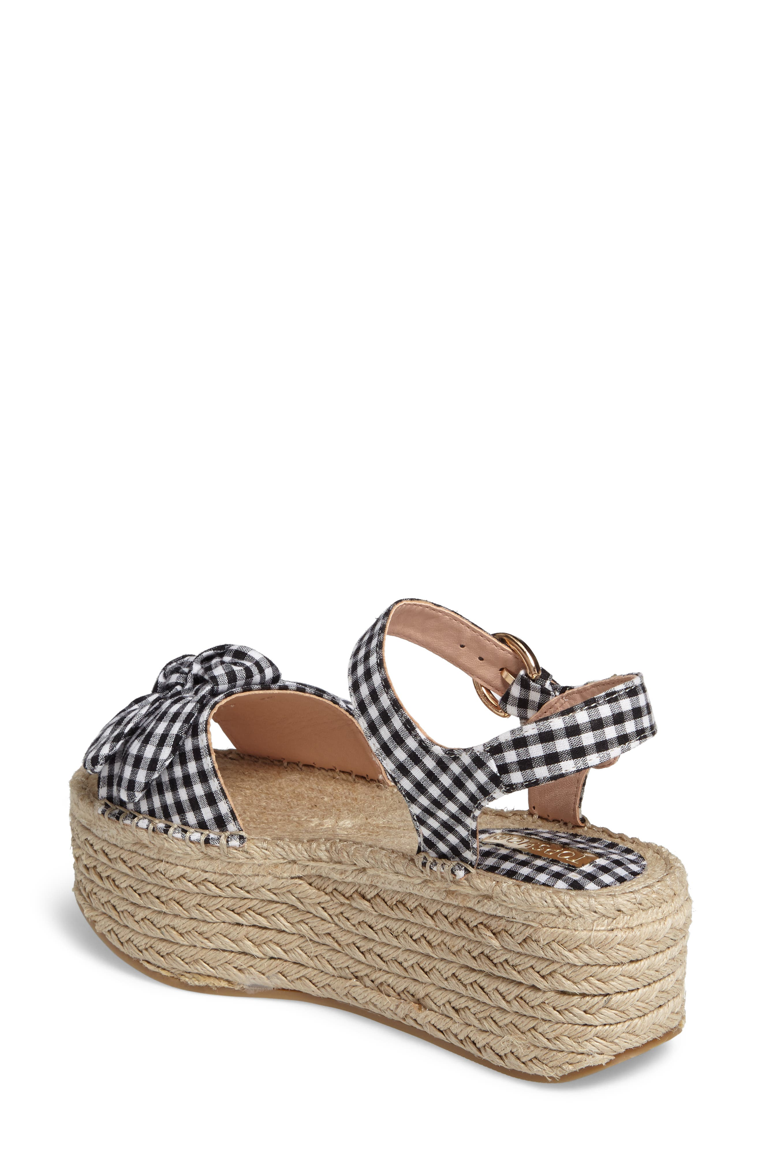 Alternate Image 2  - Topshop Wendy Gingham Platform Sandal (Women)