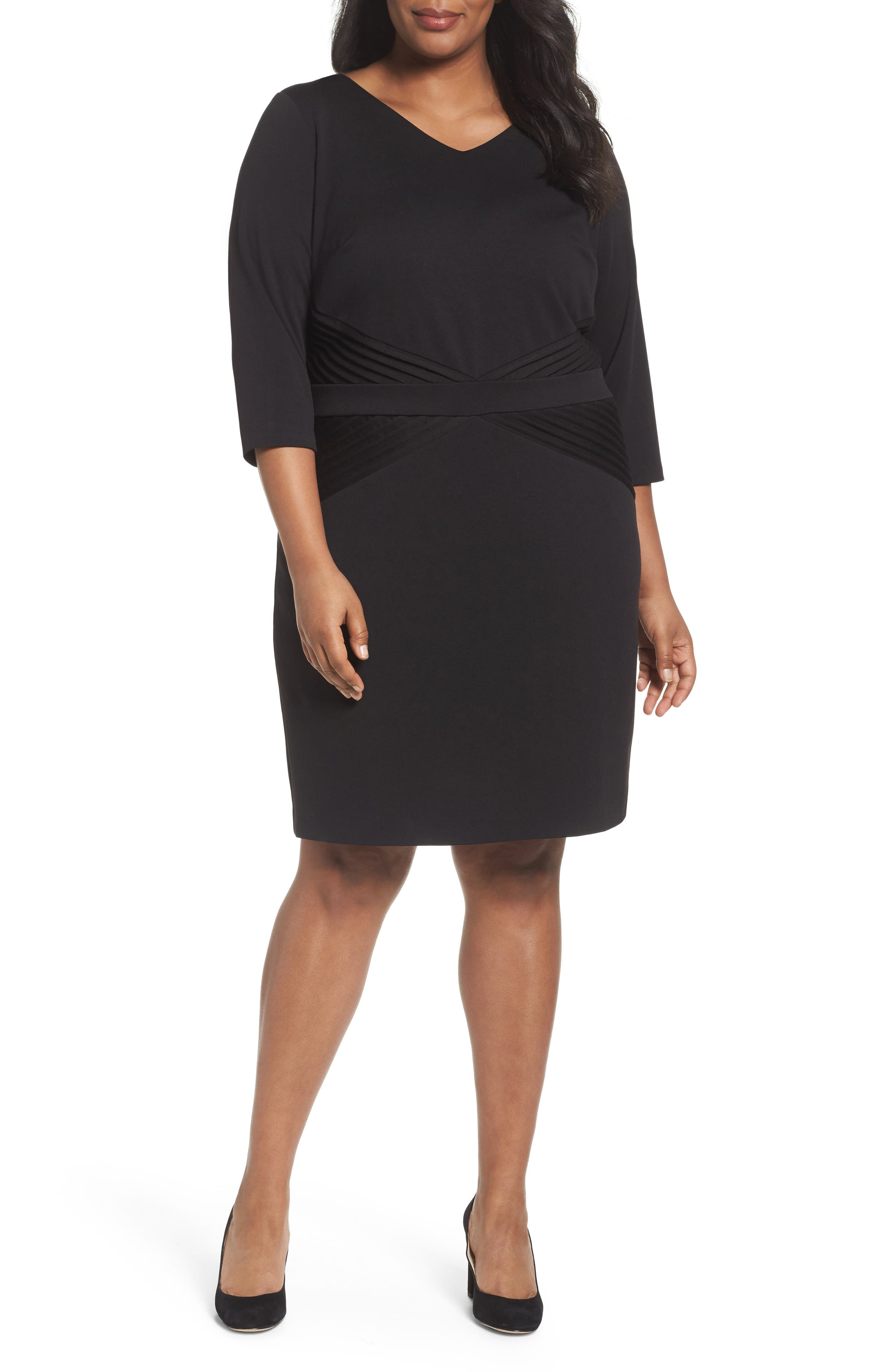 Ellen Tracy Pintuck Ponte Sheath Dress (Plus Size)